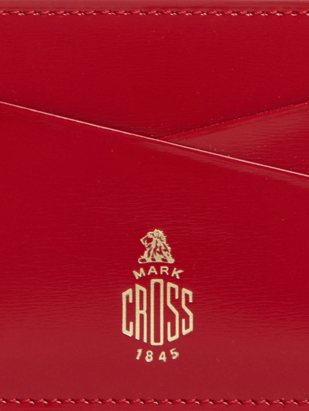 Mark Cross Leather Card Case Brush Off MC Red Detail