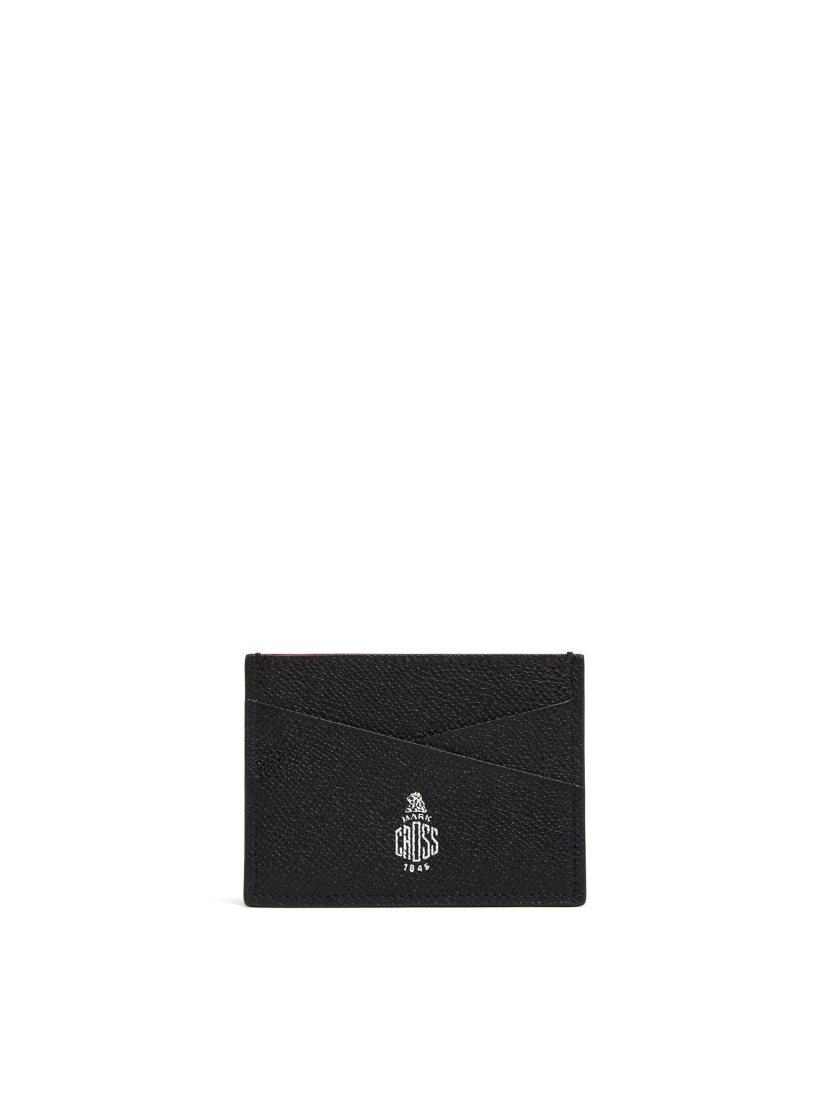 Mark Cross Leather Card Case Saffiano Black Front