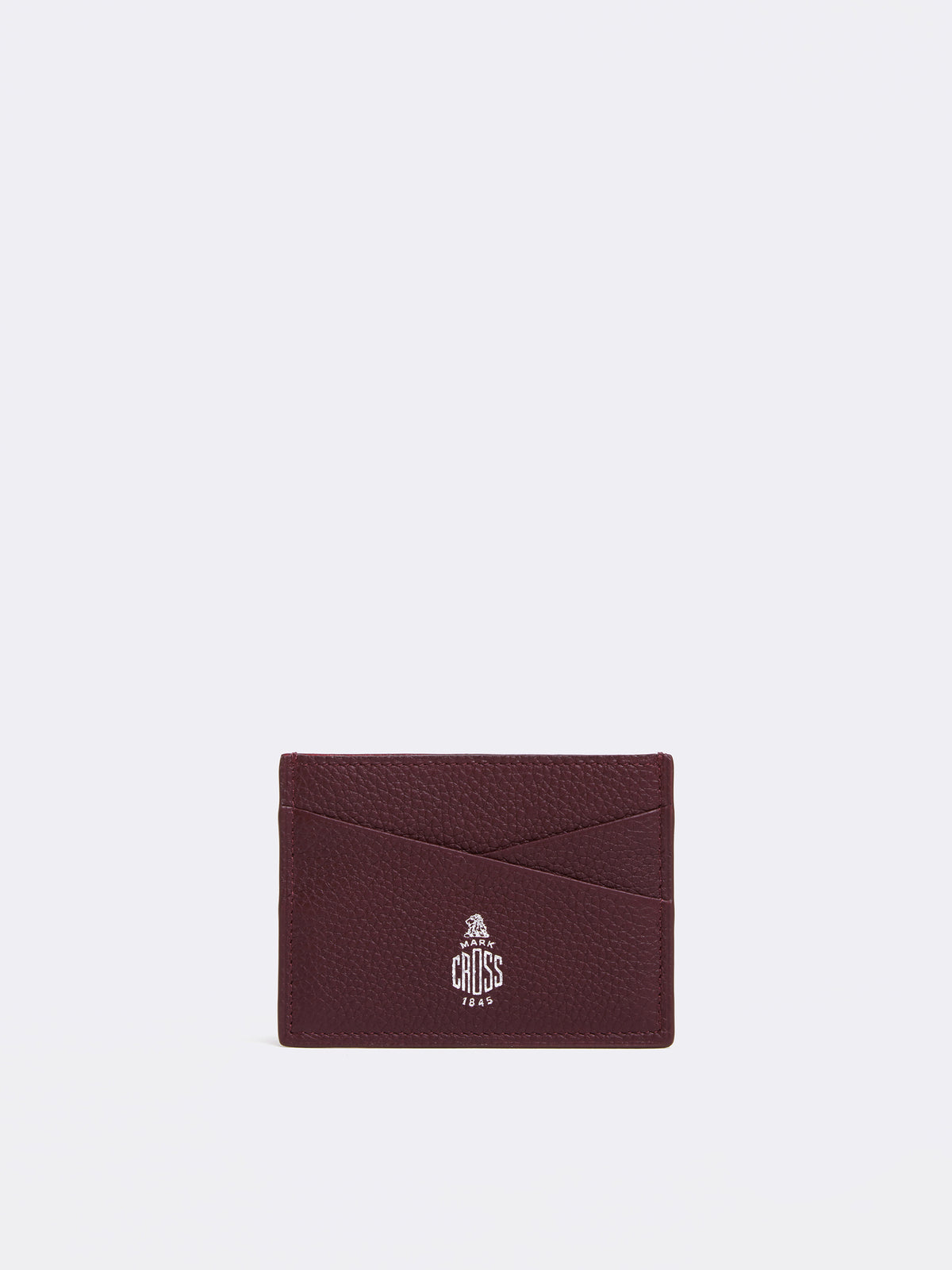 Mark Cross Leather Card Case Tumbled Grain Bordeaux Front