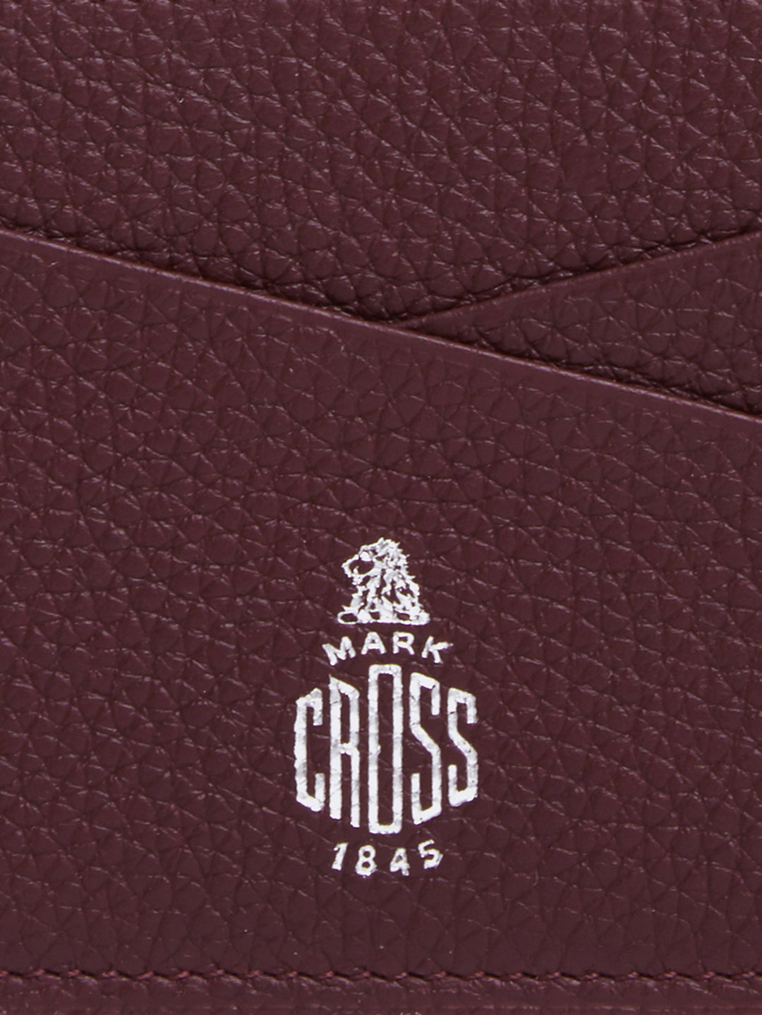Mark Cross Leather Card Case Tumbled Grain Bordeaux Detail