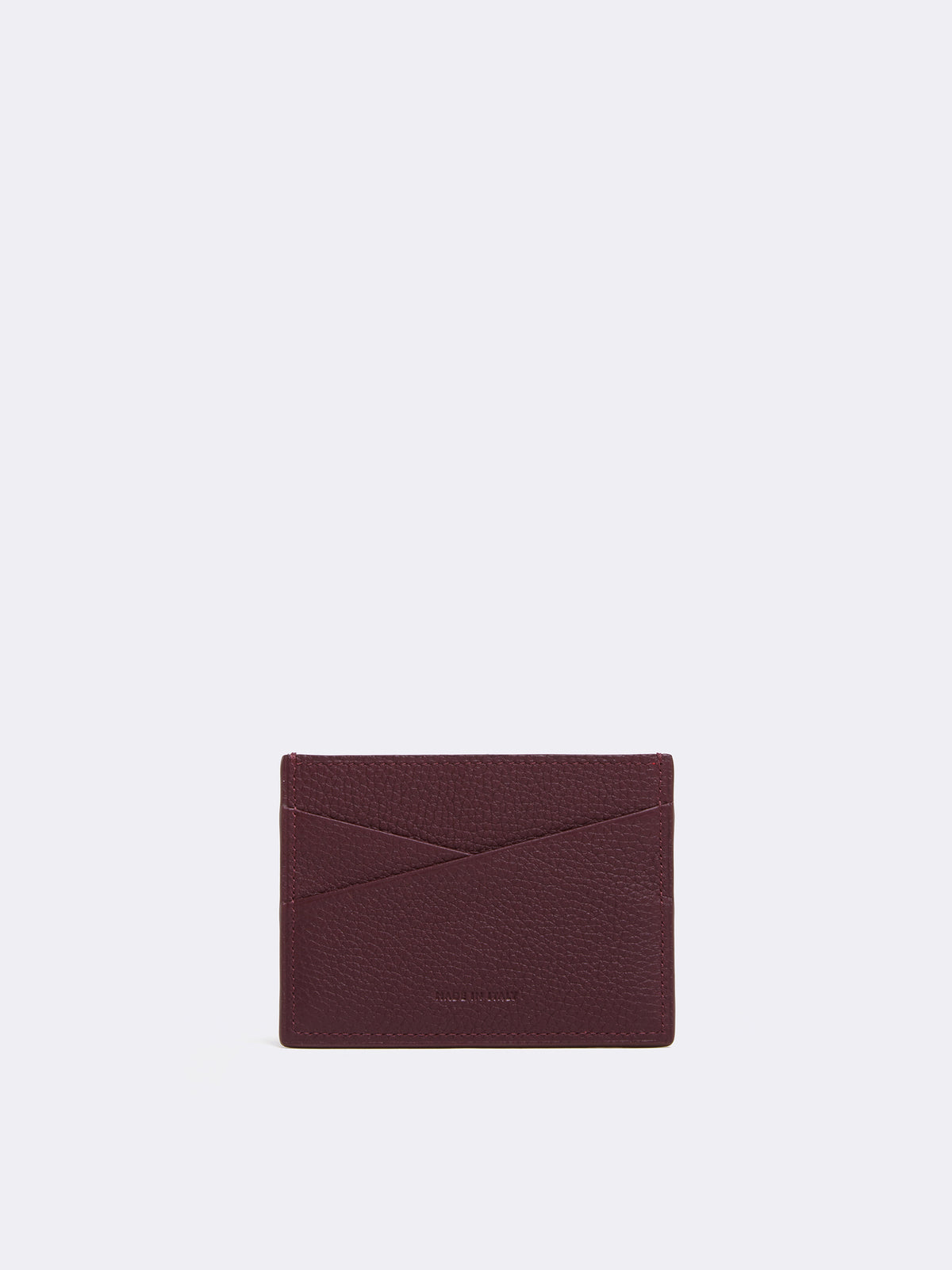 Mark Cross Leather Card Case Tumbled Grain Bordeaux Back