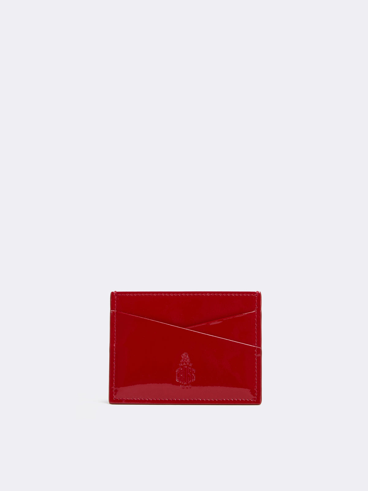 Mark Cross Leather Card Case Soft Patent Red Front