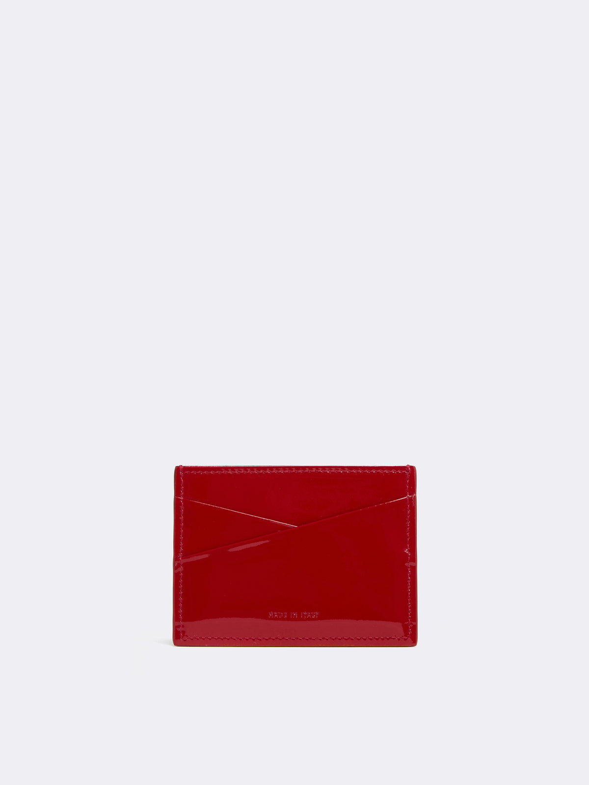 Mark Cross Leather Card Case Soft Patent Red Back