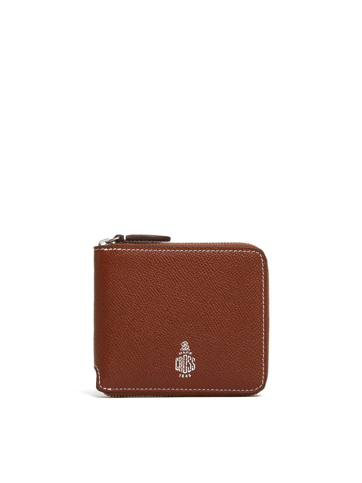 Mark Cross Bi-Fold Leather Zip Wallet Saffiano Acorn Front