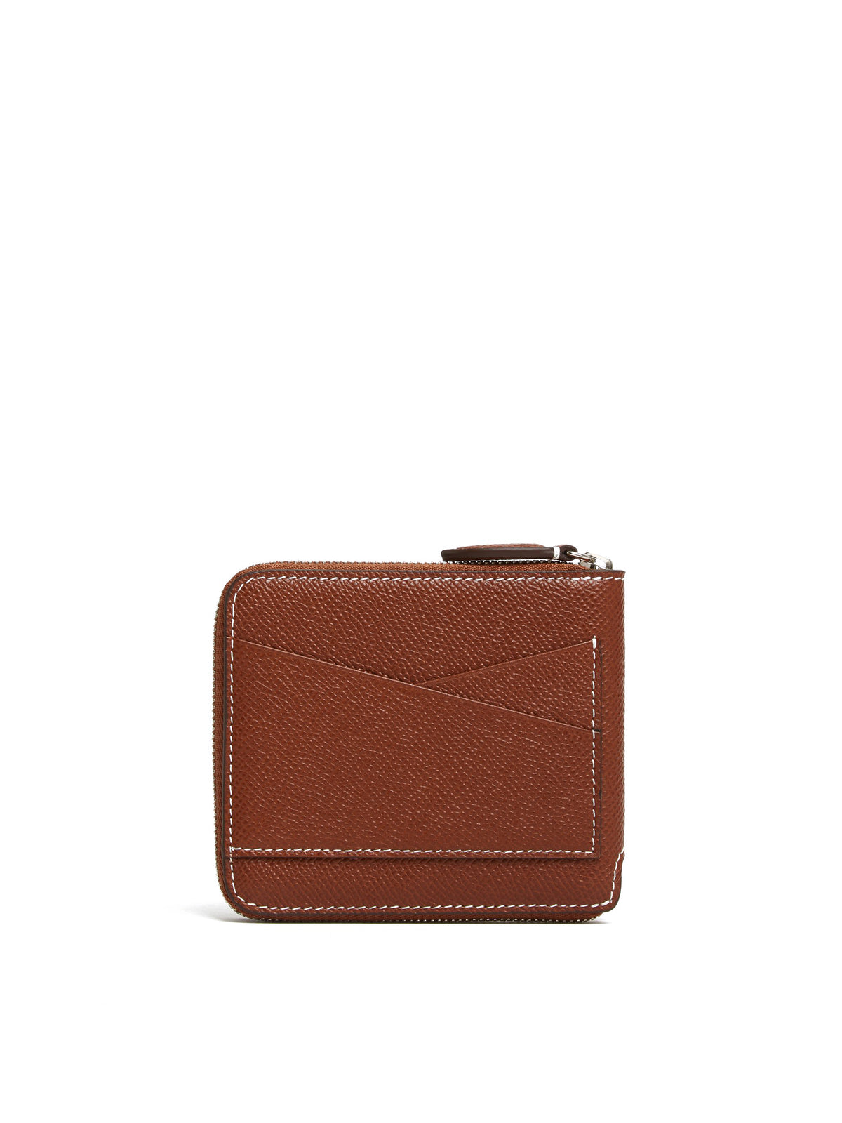 Mark Cross Bi-Fold Leather Zip Wallet Saffiano Acorn Back