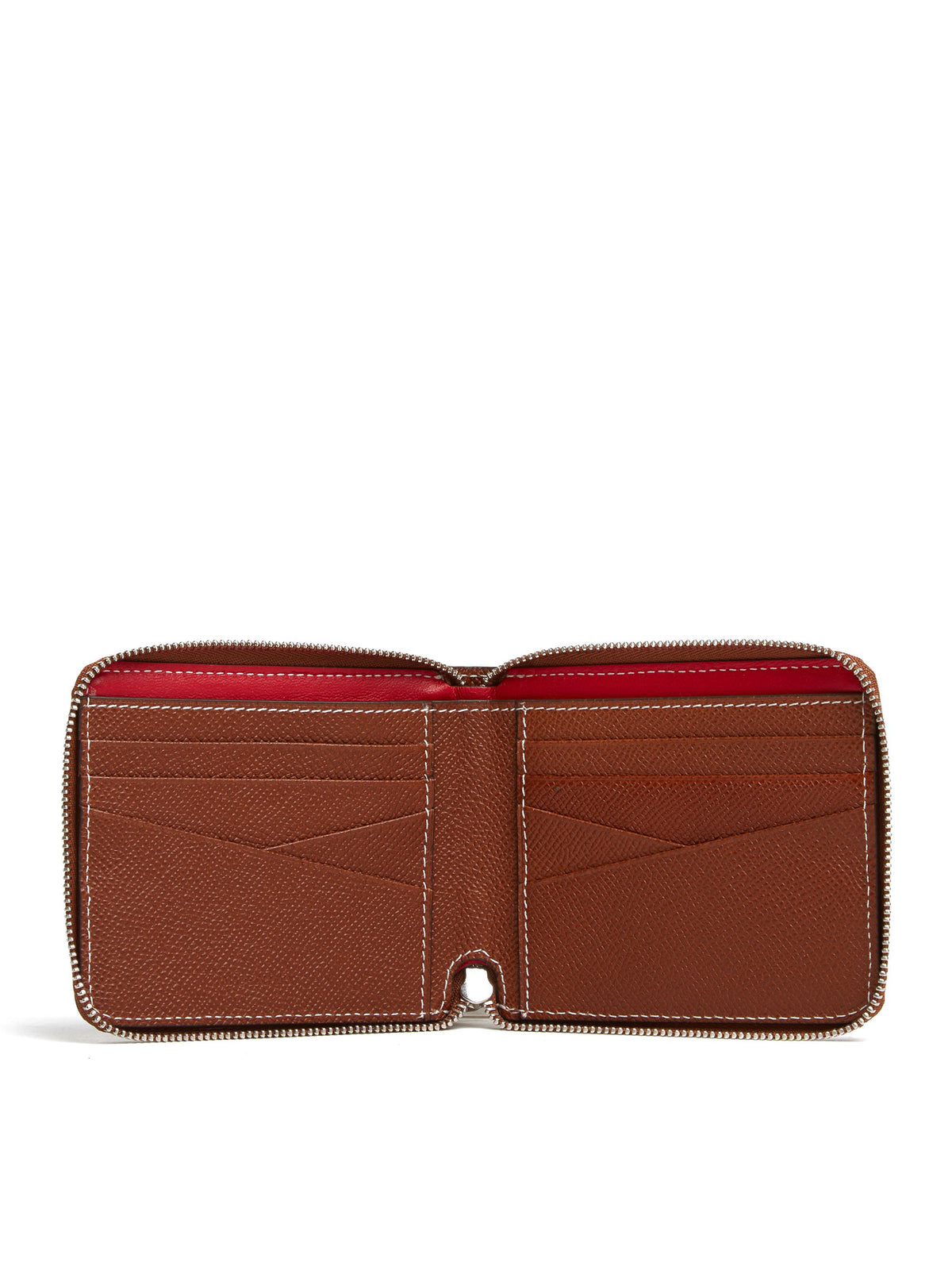 Mark Cross Bi-Fold Leather Zip Wallet Saffiano Acorn Interior