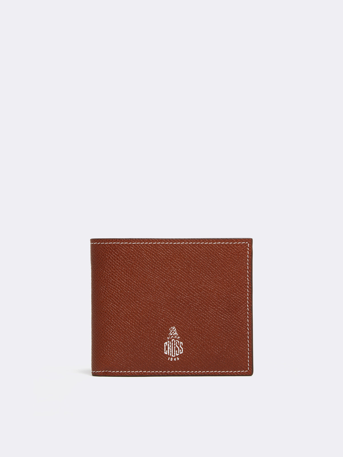 Mark Cross Bi-Fold X Leather Wallet Smooth Calf Saffiano Acorn Front
