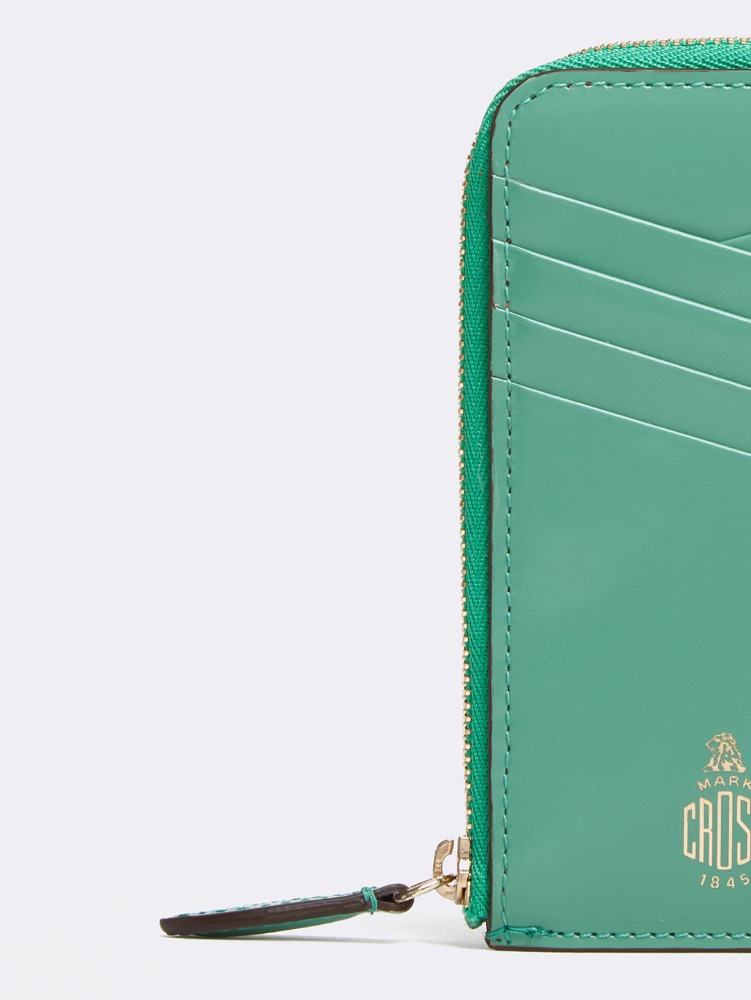 Mark Cross Leather Zip Card Case Brush Off Celadon Detail