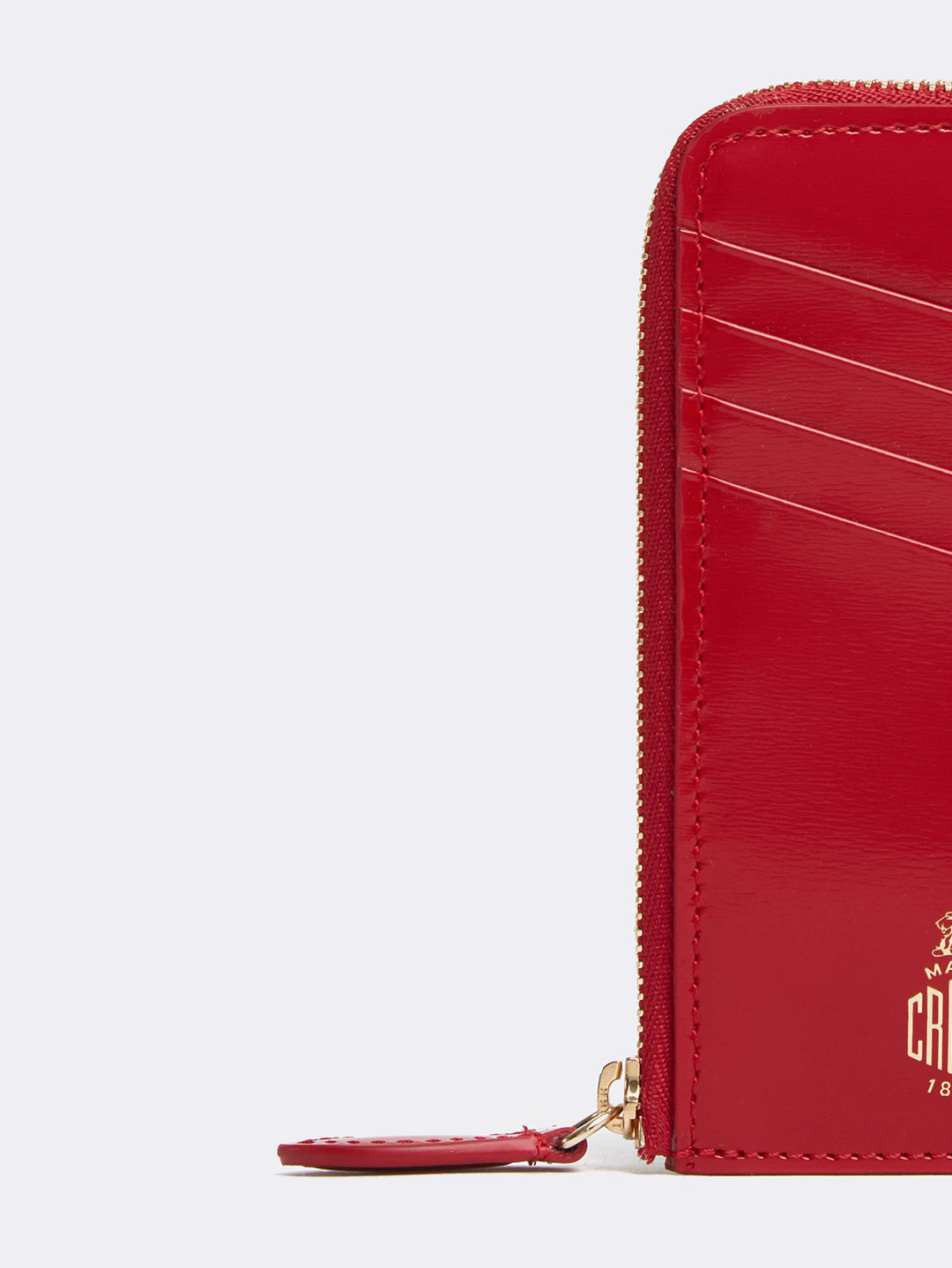 Mark Cross Leather Zip Card Case Brush Off MC Red Detail