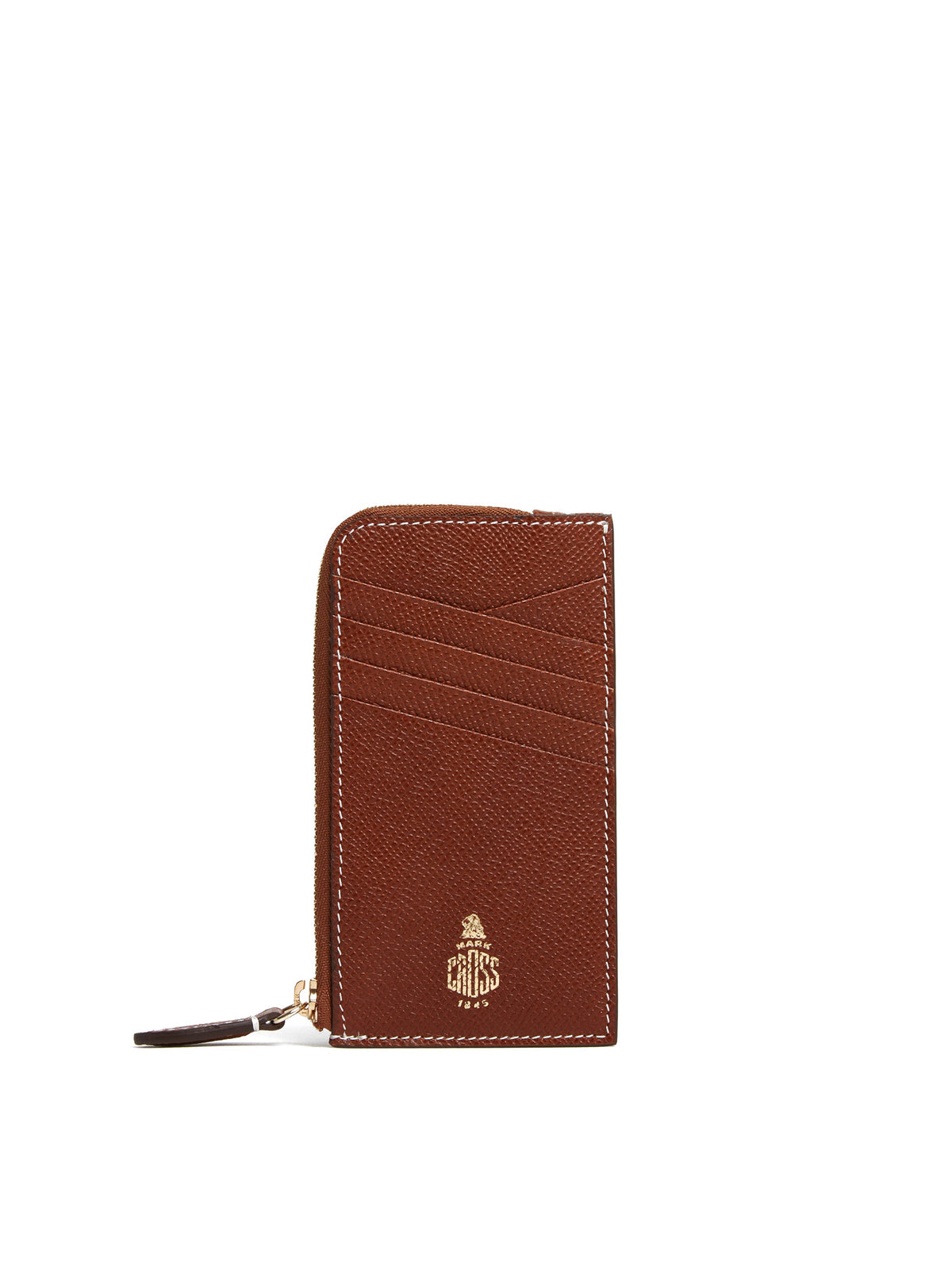 Mark Cross Leather Zip Card Case Saffiano Acorn Front