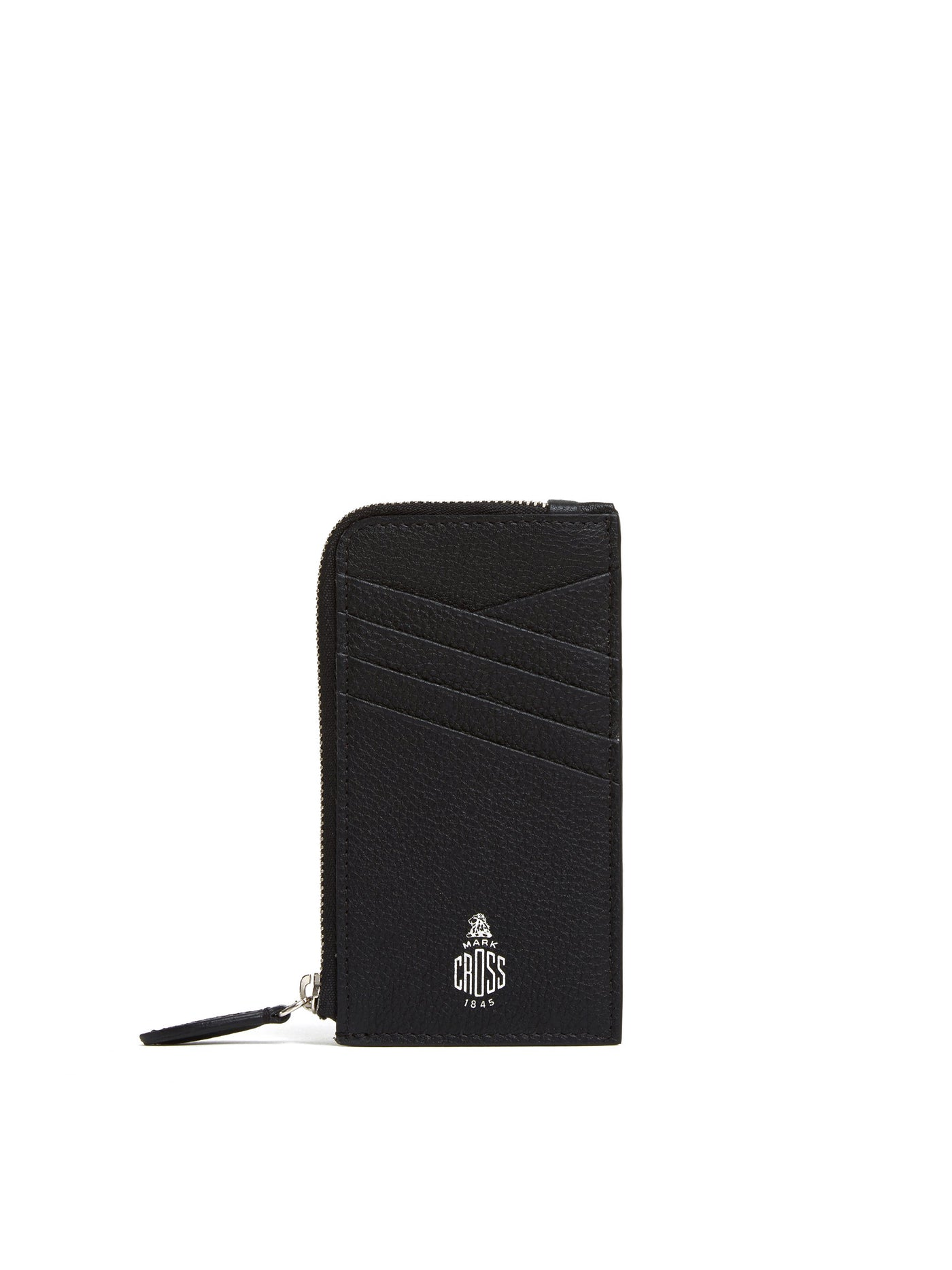 Mark Cross Leather Zip Card Case Tumbled Grain Black Front