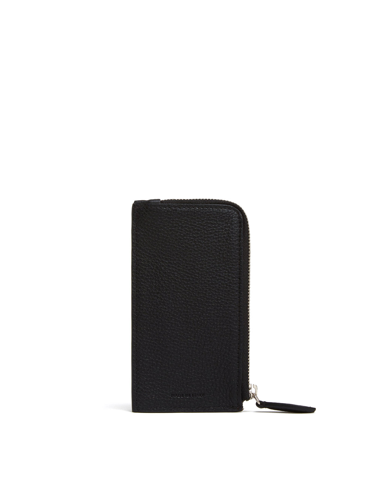 Mark Cross Leather Zip Card Case Tumbled Grain Black Back