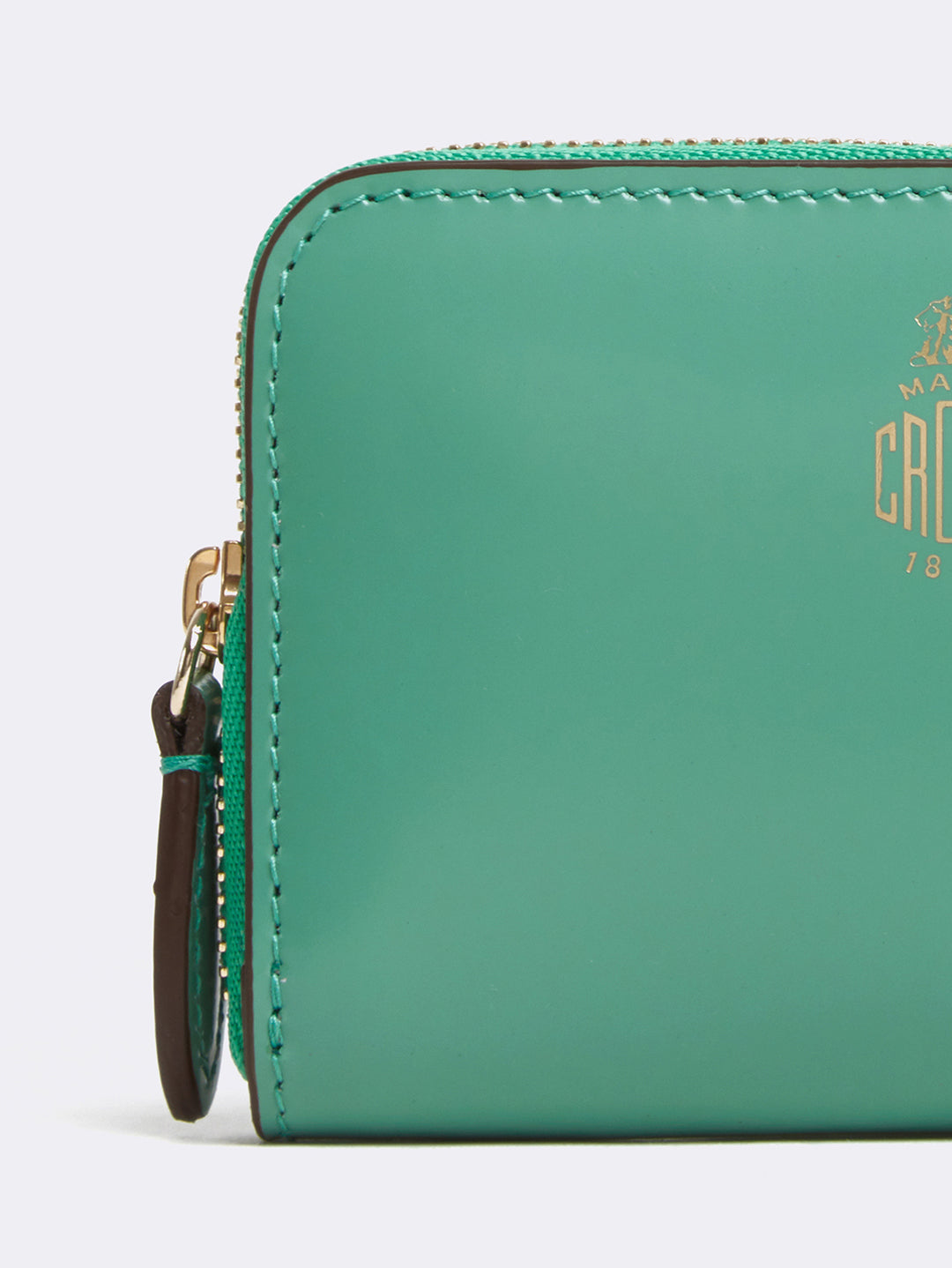 Mark Cross Mini Leather Zip Wallet Brush Off Celadon Detail
