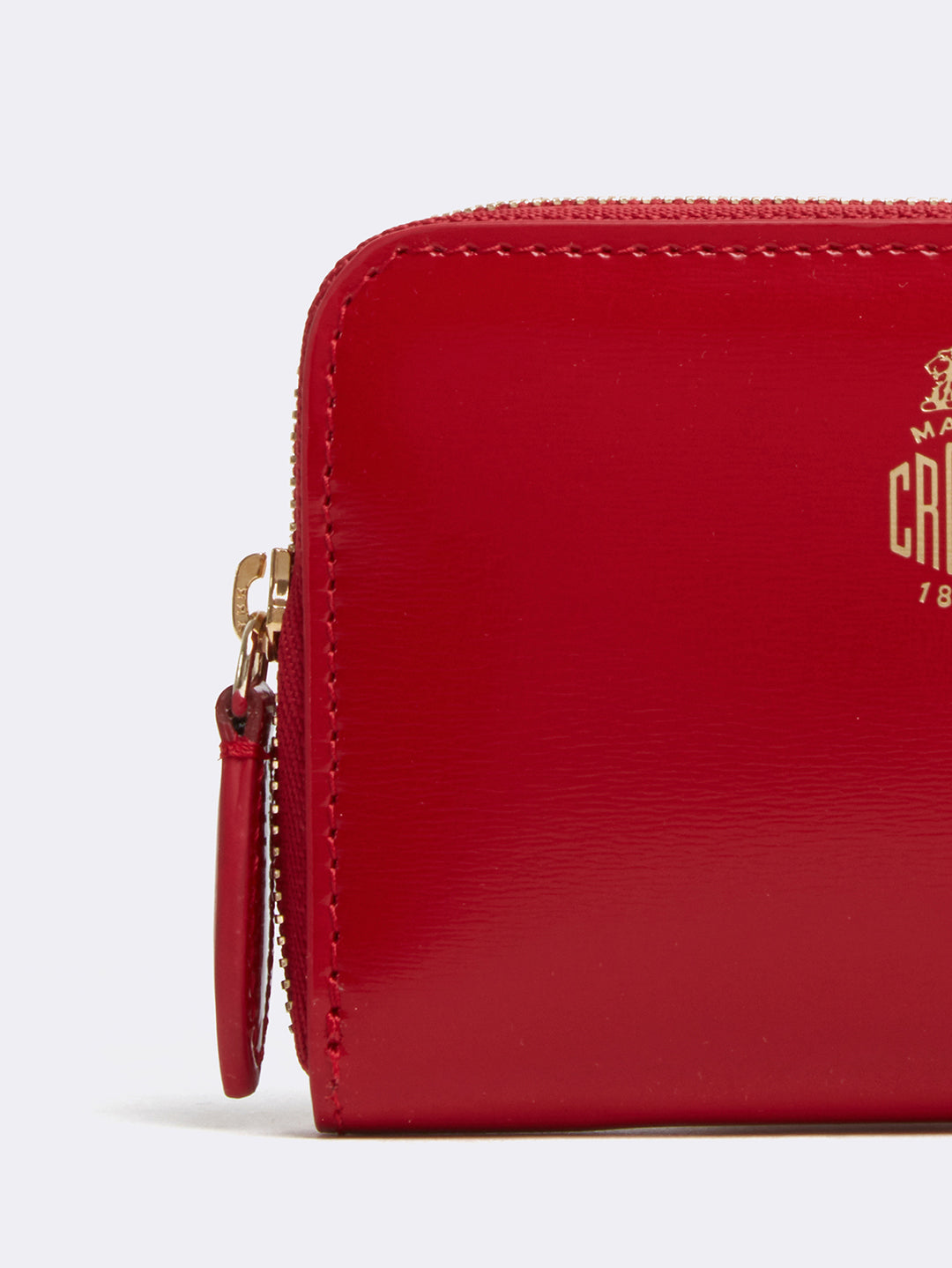 Mark Cross Mini Leather Zip Wallet Brush Off Mc Red Detail