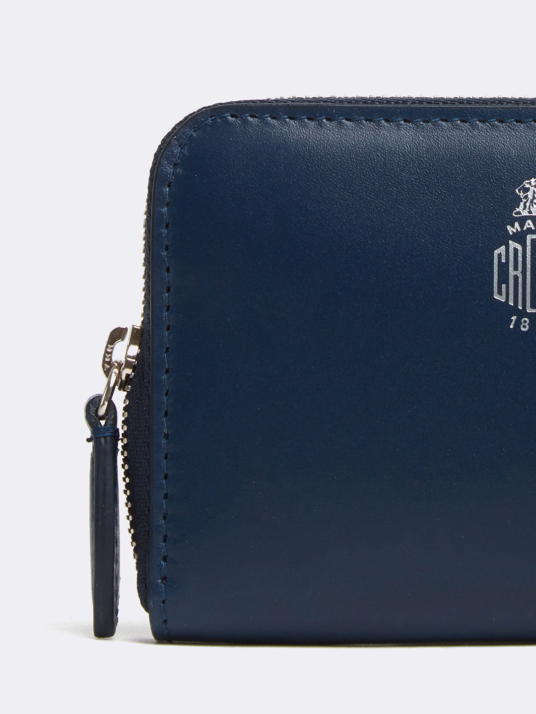 Mark Cross Mini Leather Zip Wallet Seta Box Navy Detail