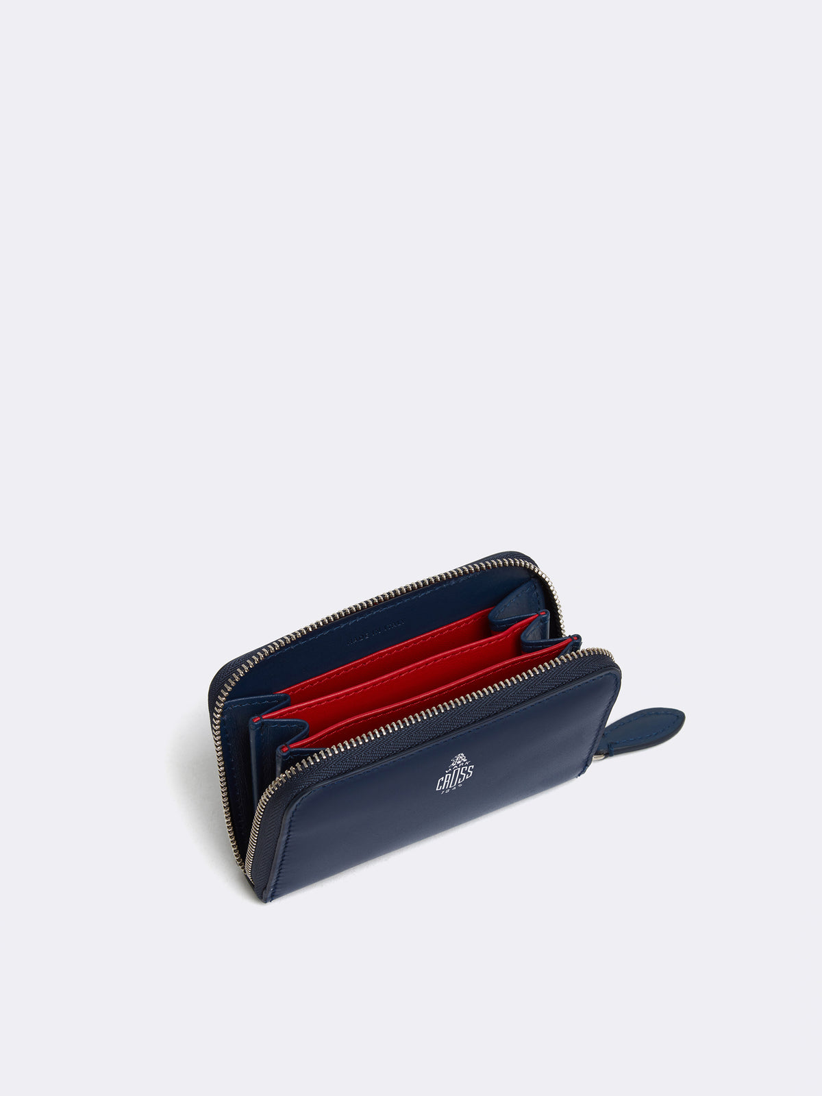 Mark Cross Mini Leather Zip Wallet Seta Box Navy Interior