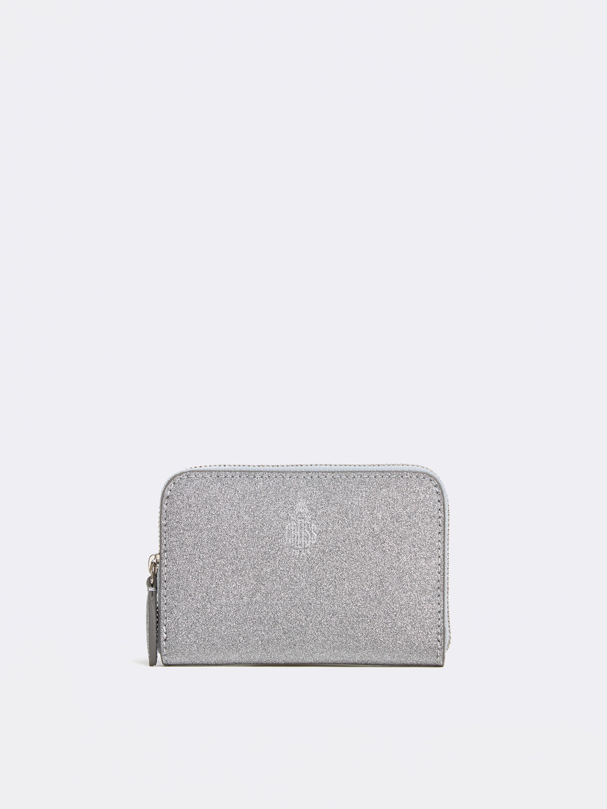 Mark Cross Mini Leather Zip Wallet Luminous Glitter Silver Front