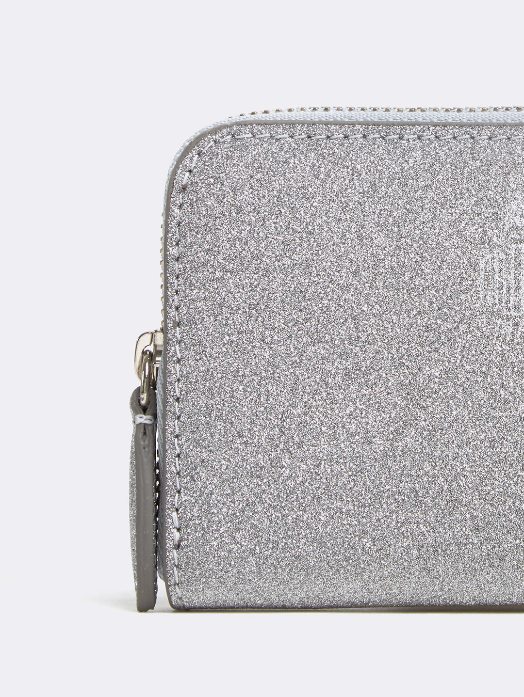 Mark Cross Mini Leather Zip Wallet Luminous Glitter Silver Detail