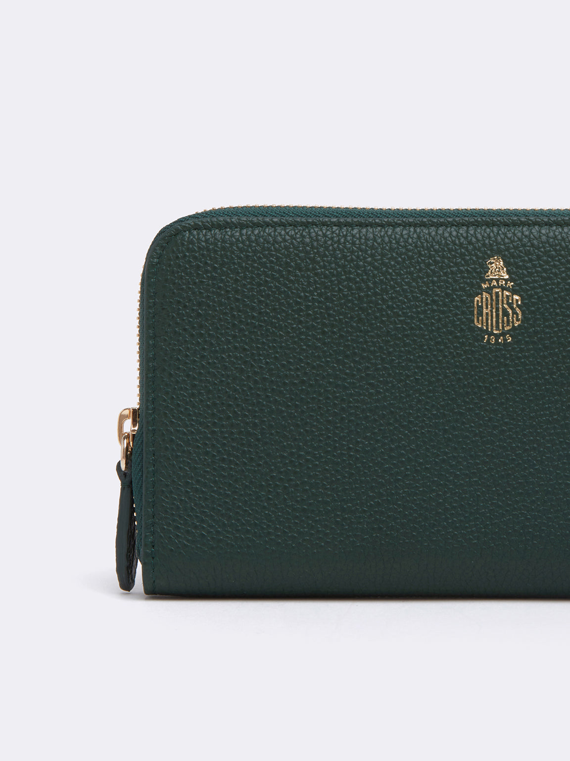 Mark Cross Leather Zip Wallet Tumbled Grain Evergreen Detail