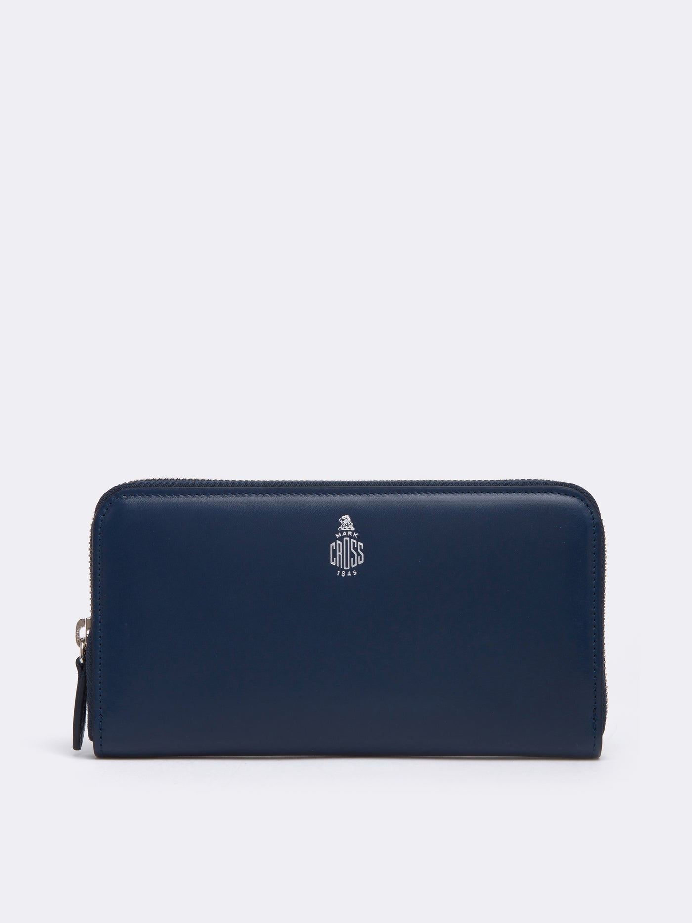 Mark Cross Leather Zip Wallet Seta Box Navy Front