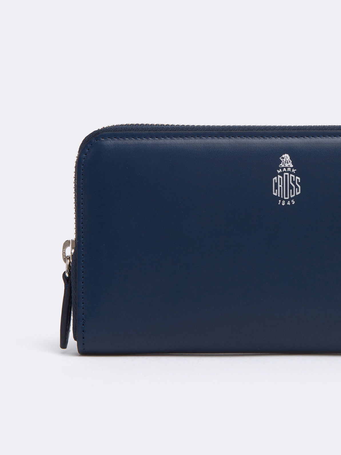 Mark Cross Leather Zip Wallet Seta Box Navy Detail
