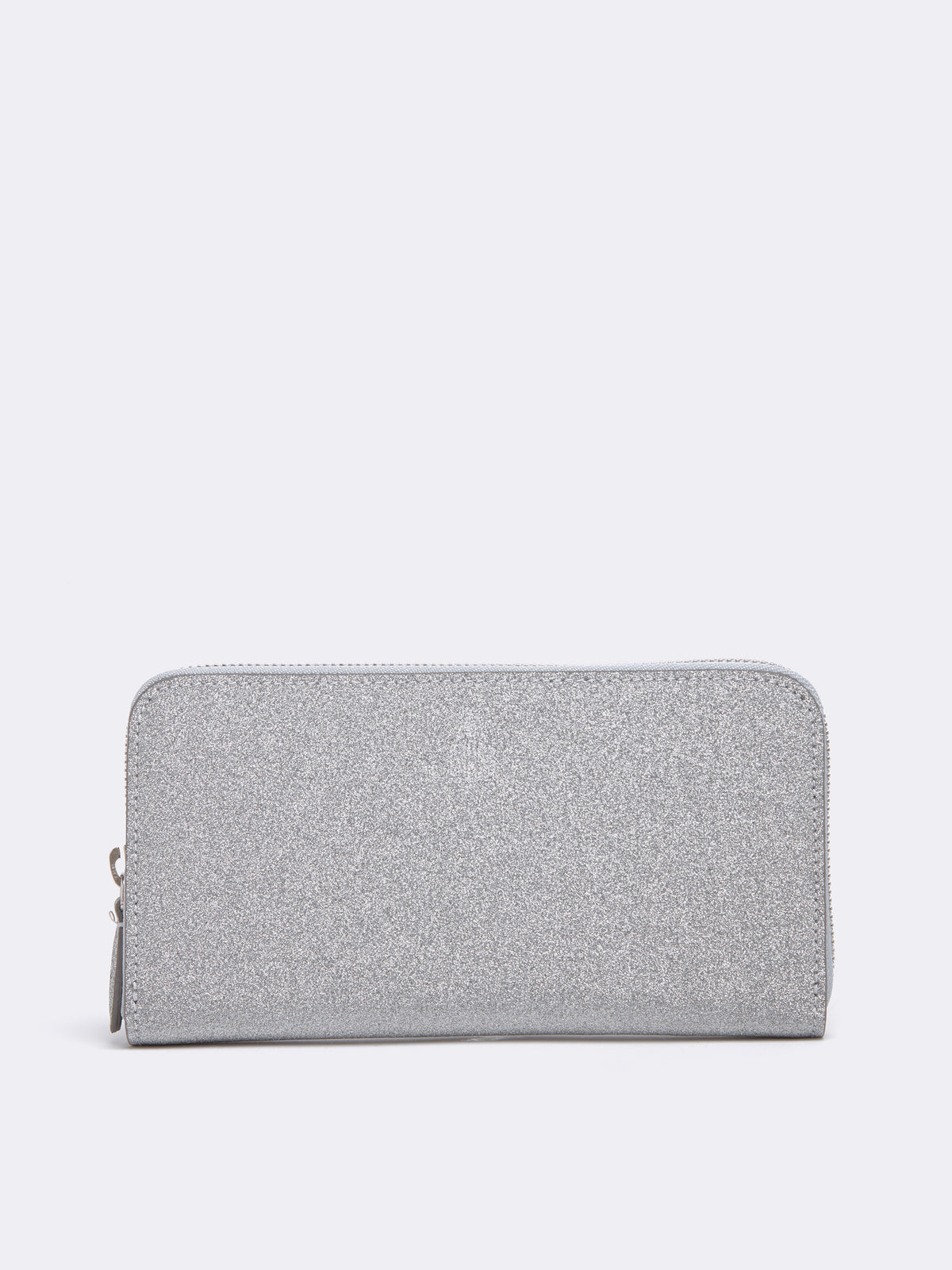 Mark Cross Leather Zip Wallet Luminous Glitter Silver Front