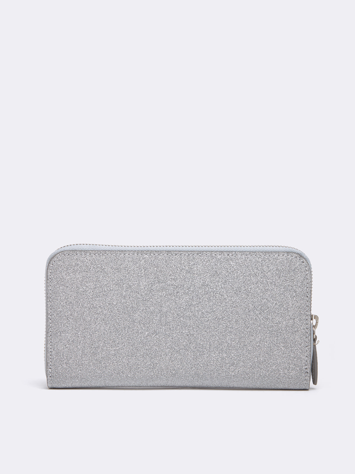 Mark Cross Leather Zip Wallet Luminous Glitter Silver Back