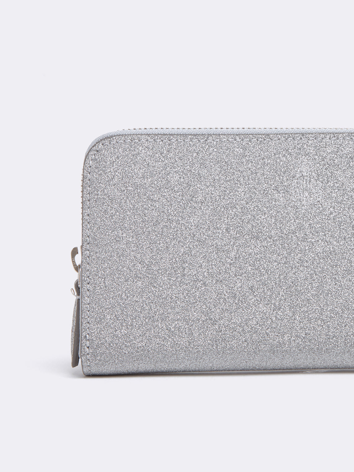 Mark Cross Leather Zip Wallet Luminous Glitter Silver Detail