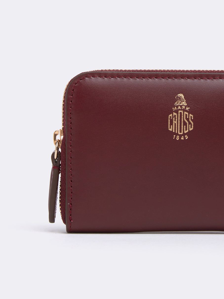 Mark Cross Zip Coin Pouch for Grace Belt Bag Smooth Calf Burgundy Detail