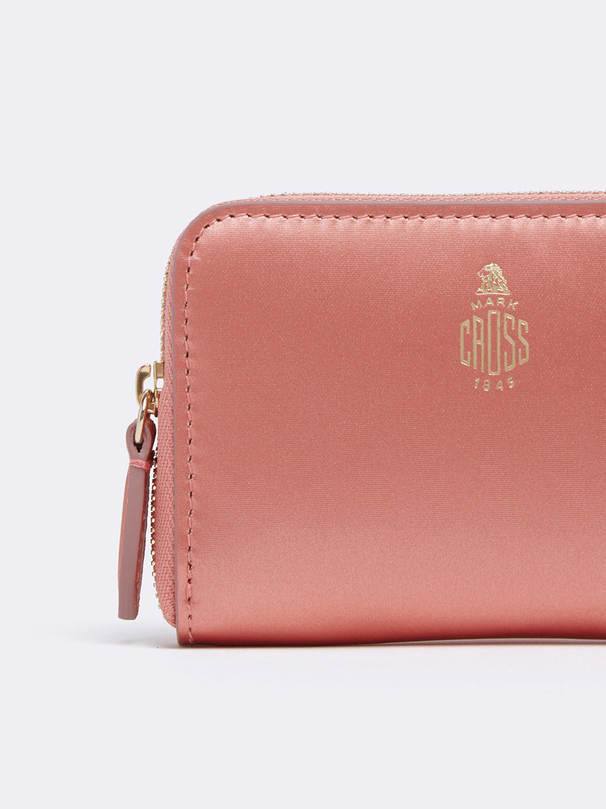 Mark Cross Zip Coin Pouch for Grace Belt Bag Metallic Nappa Rosa Antico Detail