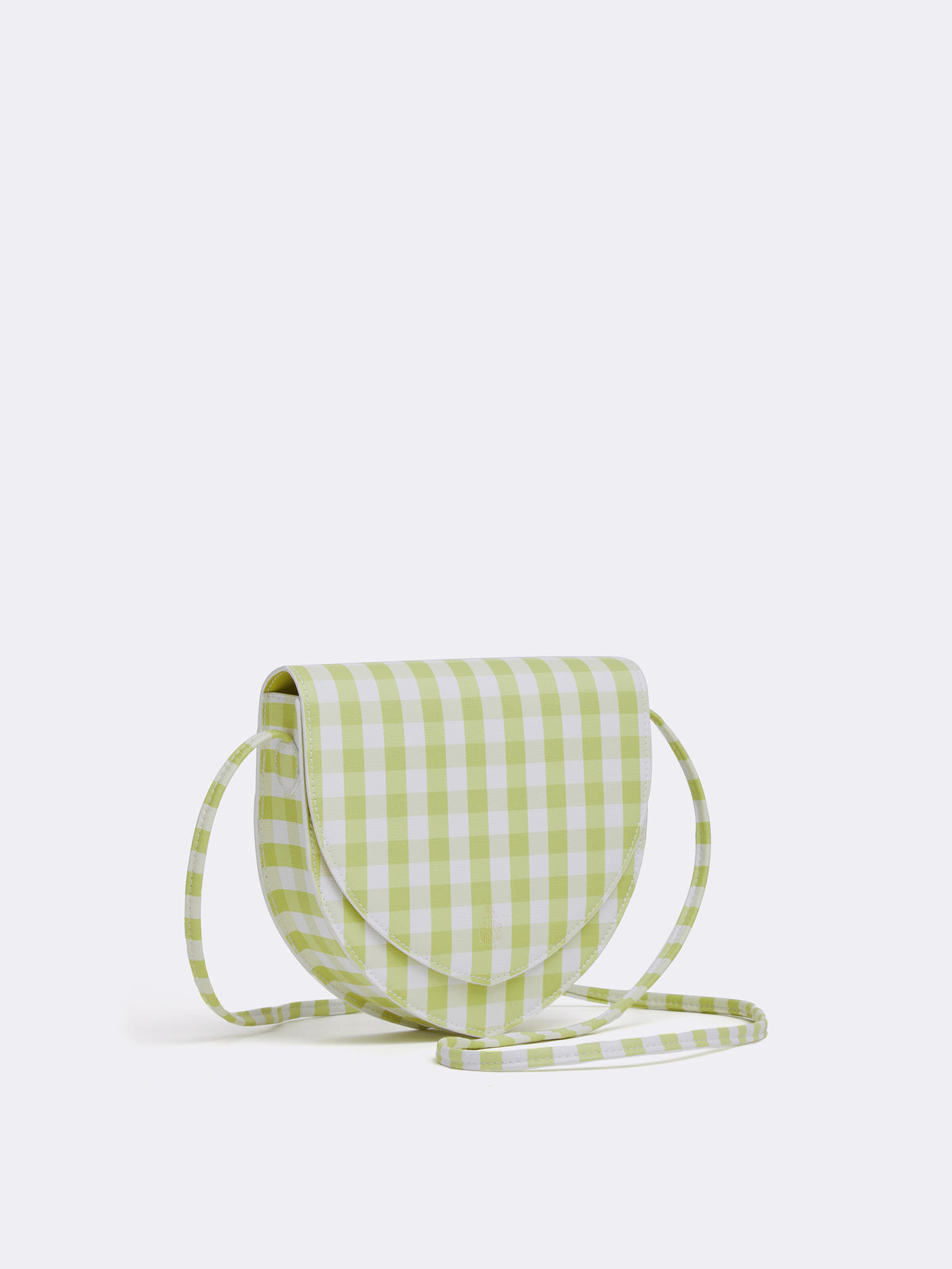 Mark Cross Dunes Leather Crossbody Bag Mini Franzi Gingham Citron Side