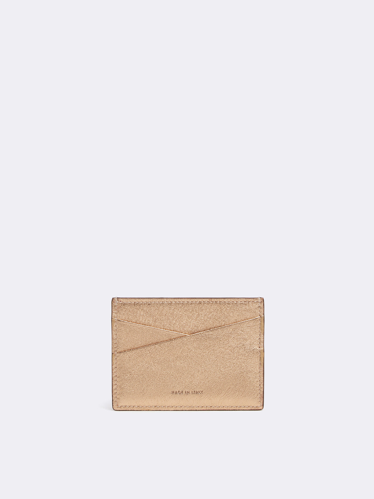 Mark Cross Leather Card Case Metallic Nappa Gold Back