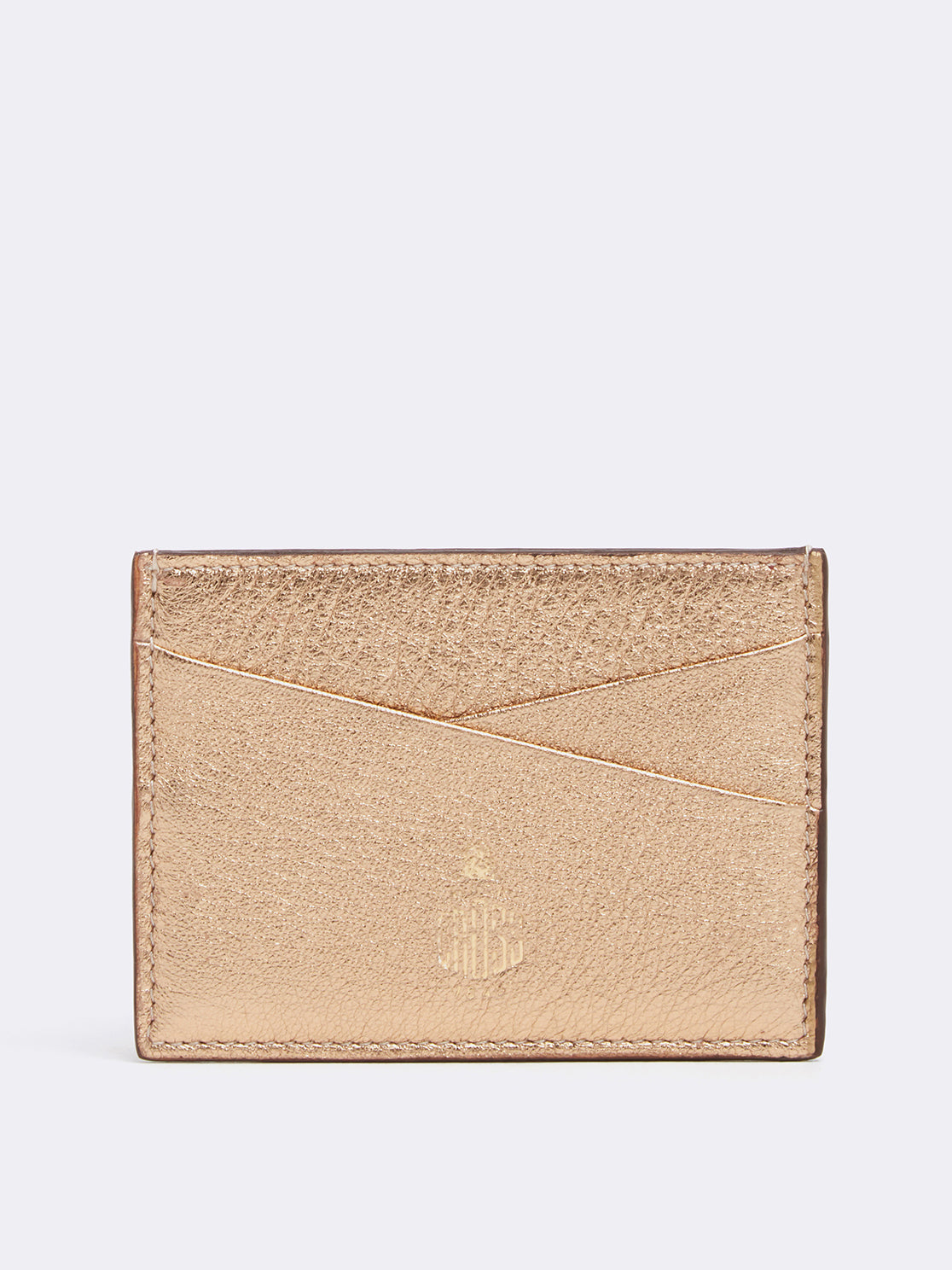 Mark Cross Leather Card Case Metallic Nappa Gold Back Back