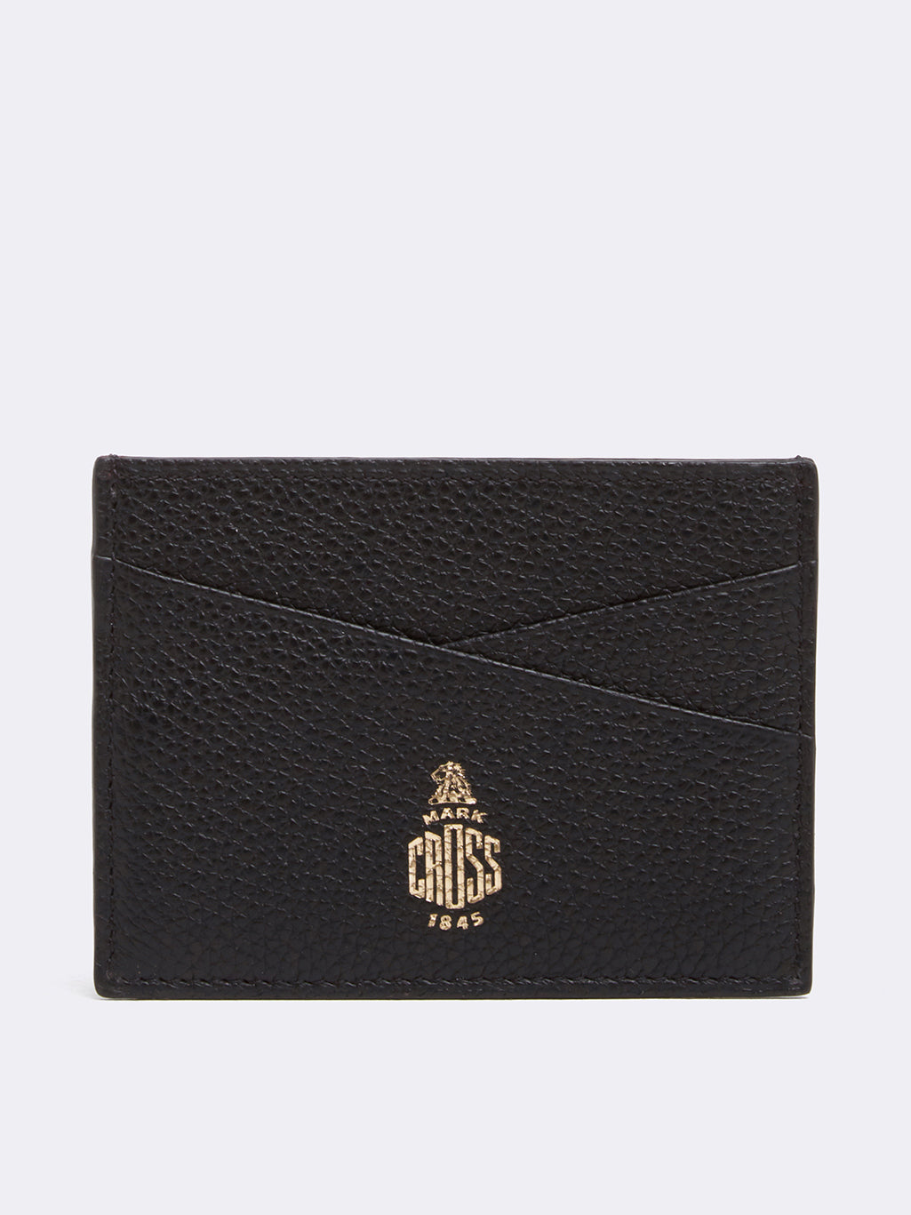 Mark Cross Leather Card Case Tumbled Grain Black Front