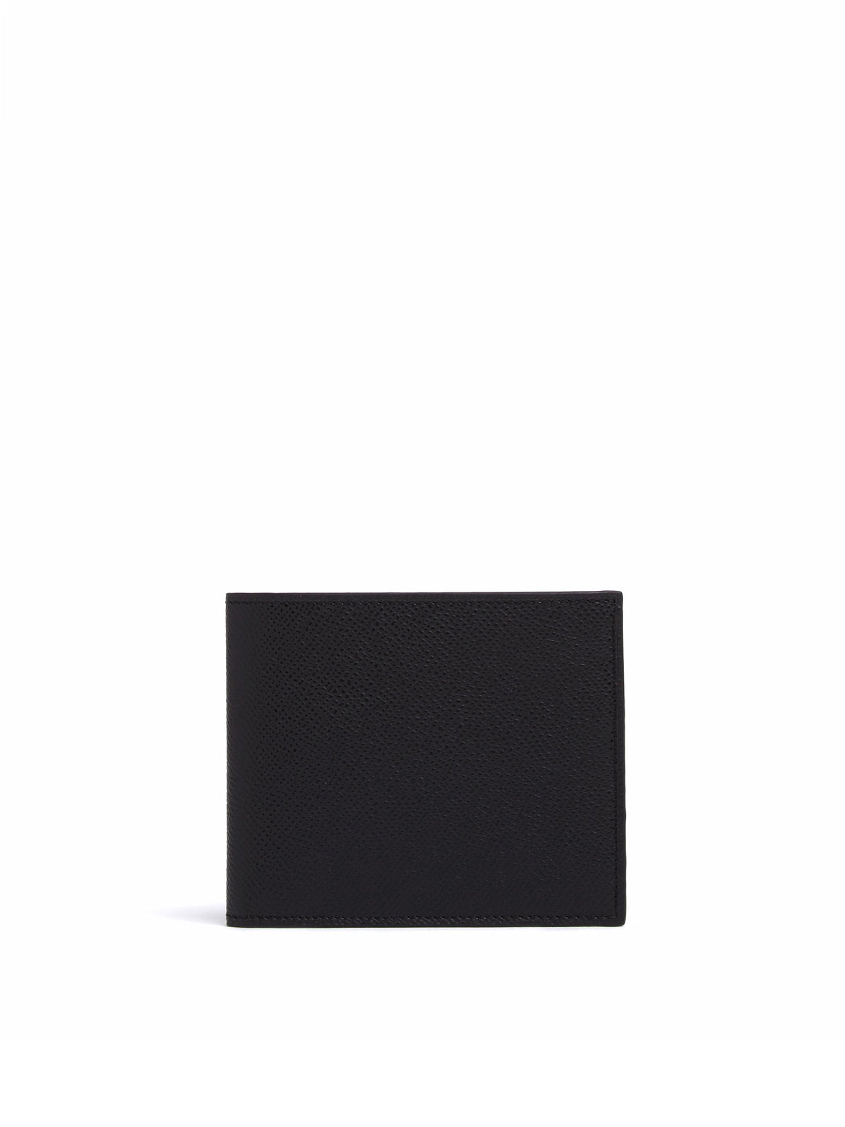 Mark Cross Bi-Fold Leather Wallet Saffiano Black Front