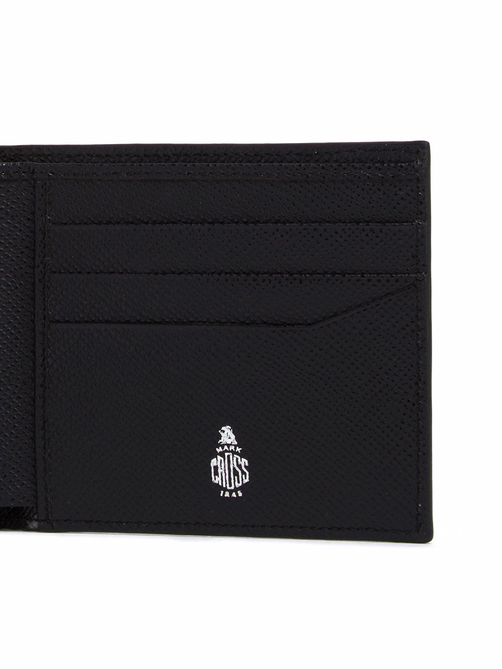 Mark Cross Bi-Fold Leather Wallet Saffiano Black Detail