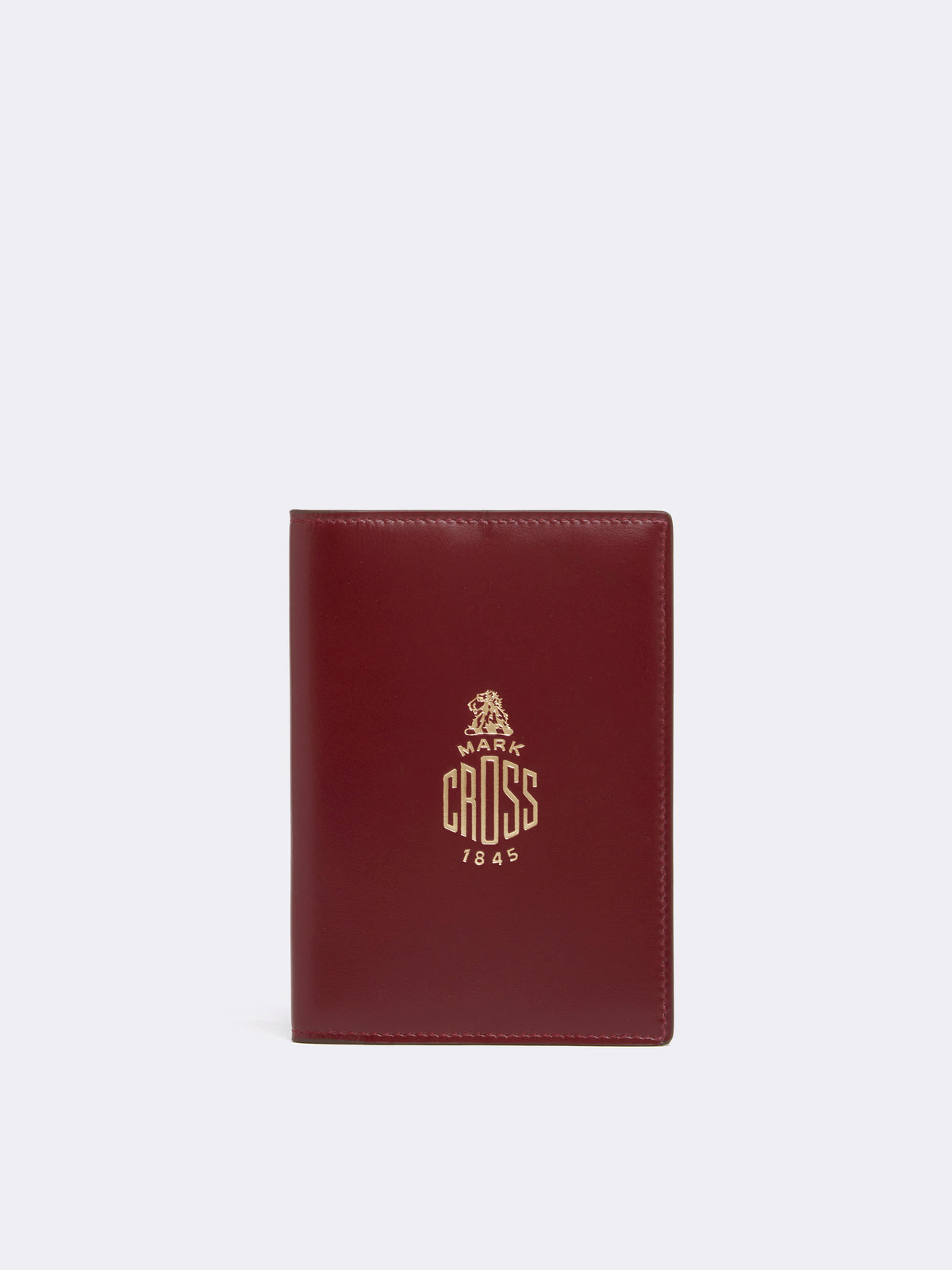 Mark Cross Leather Passport Cover Smooth Calf Burgundy Front