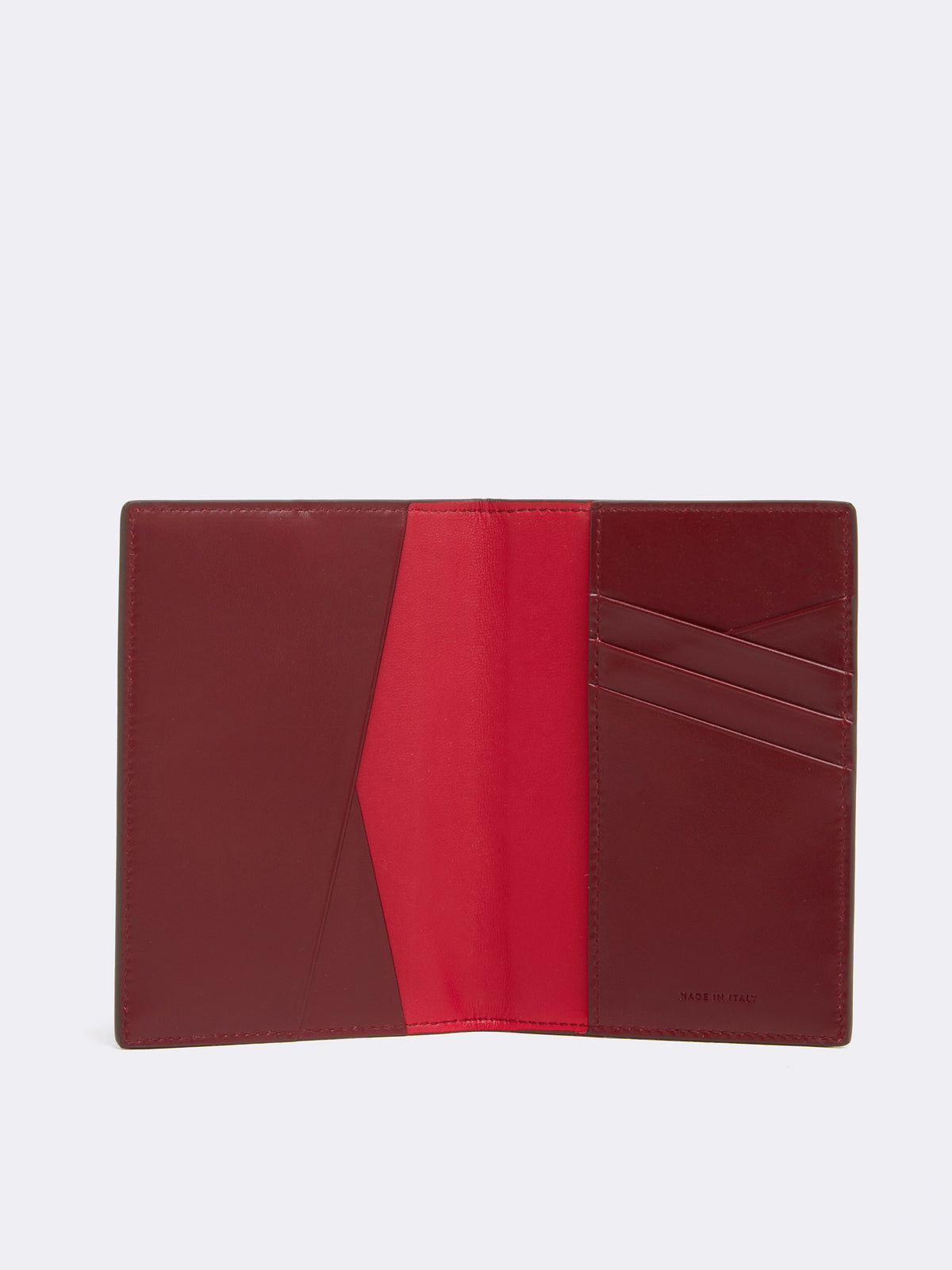 Mark Cross Leather Passport Cover Smooth Calf Burgundy Interior