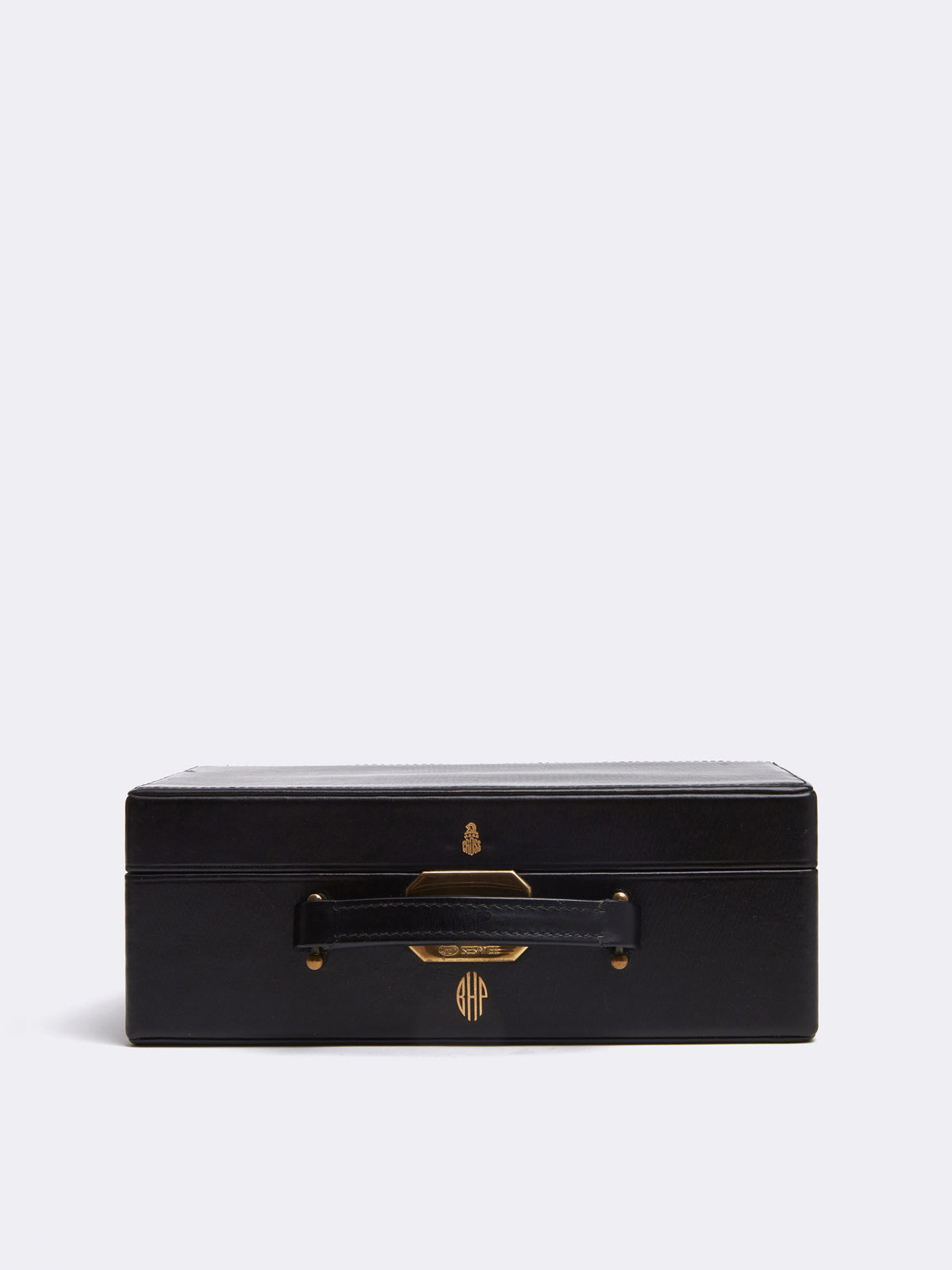 Mark Cross Vintage Leather Jewelry Box Black Side
