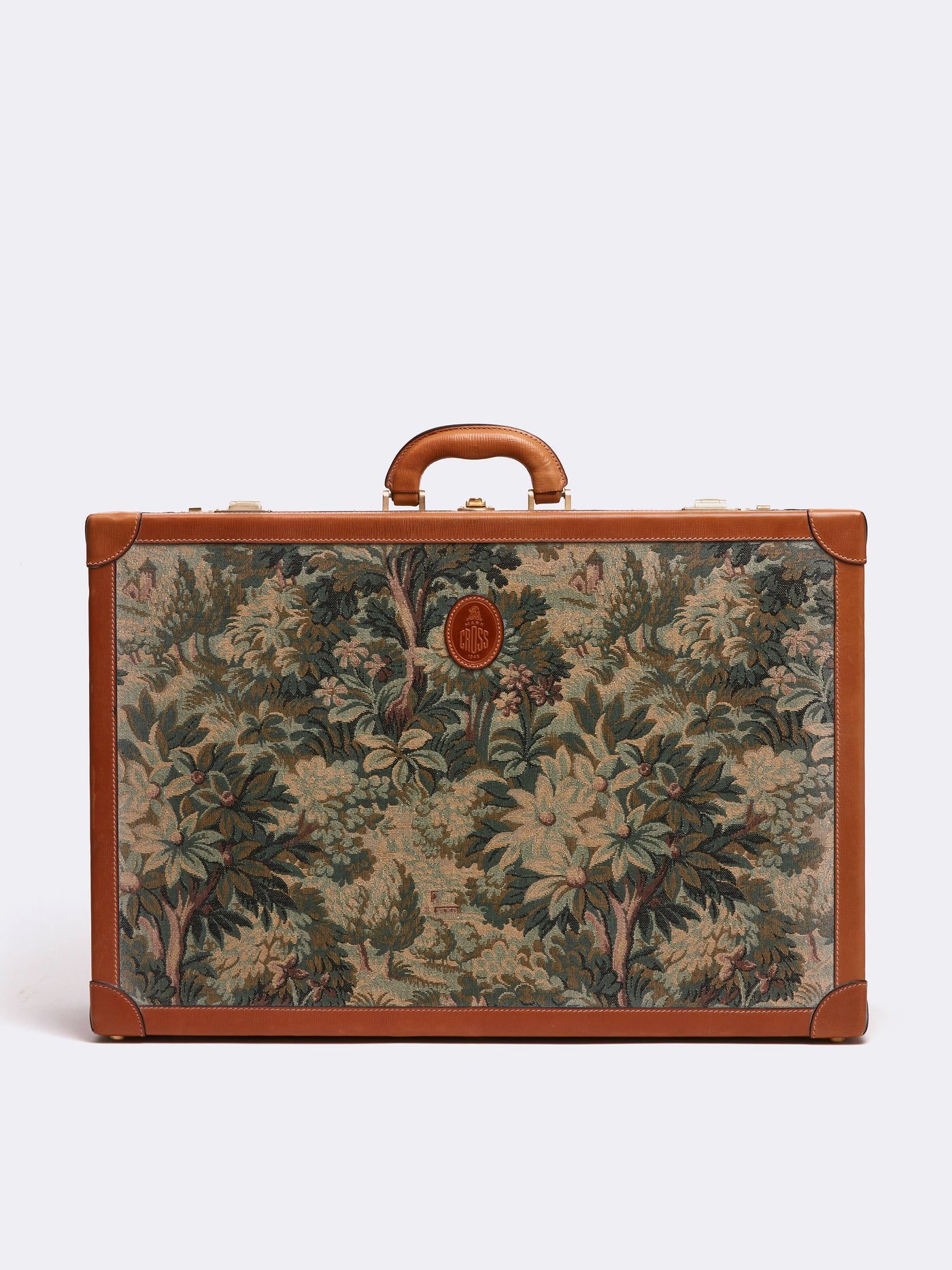 Mark Cross Archive Tapestry Suitcase Cognac Front