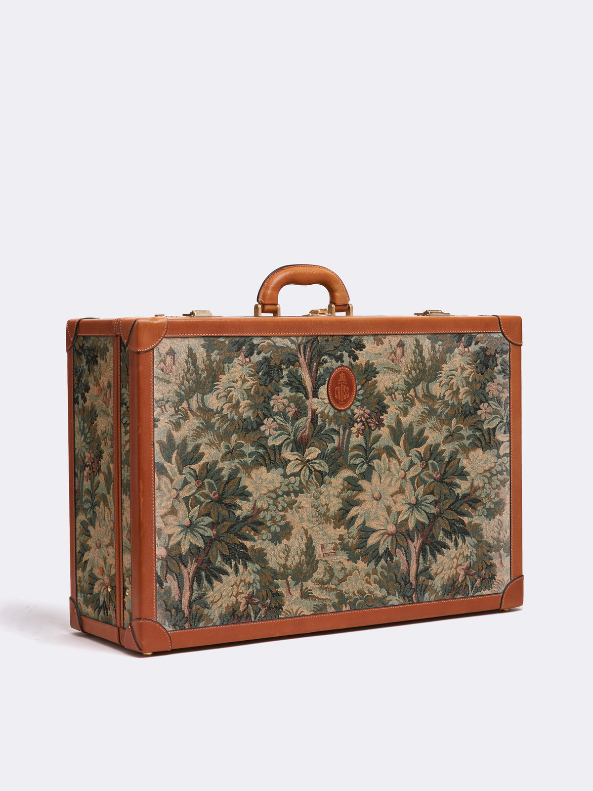 Mark Cross Archive Tapestry Suitcase Cognac Side