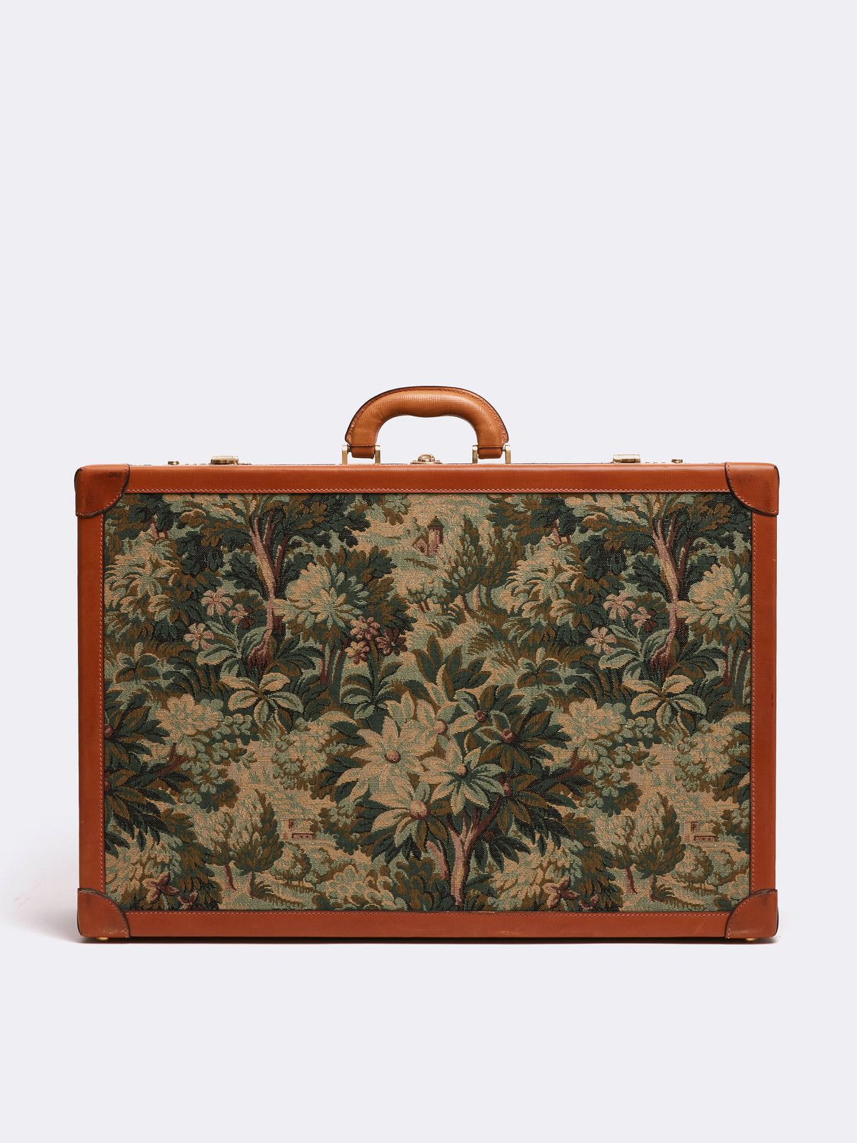 Mark Cross Archive Tapestry Suitcase Cognac Back