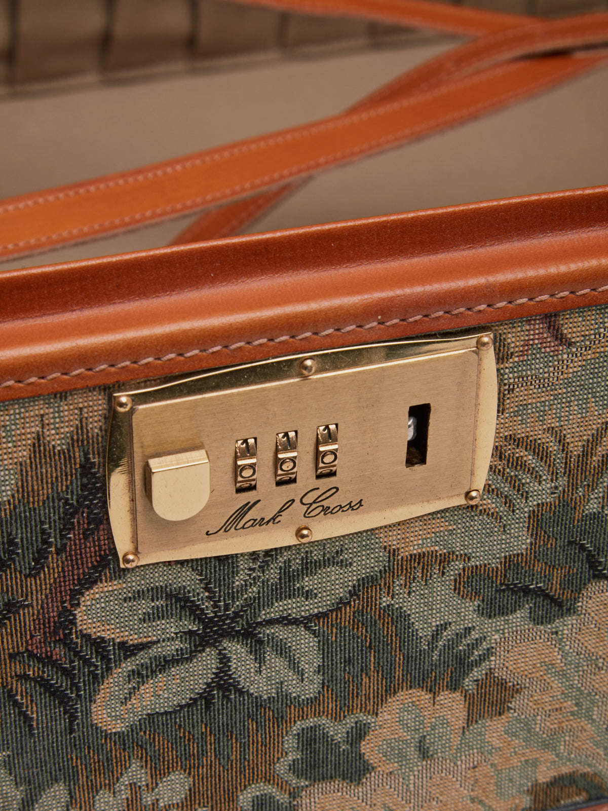 Mark Cross Archive Tapestry Suitcase Cognac Detail