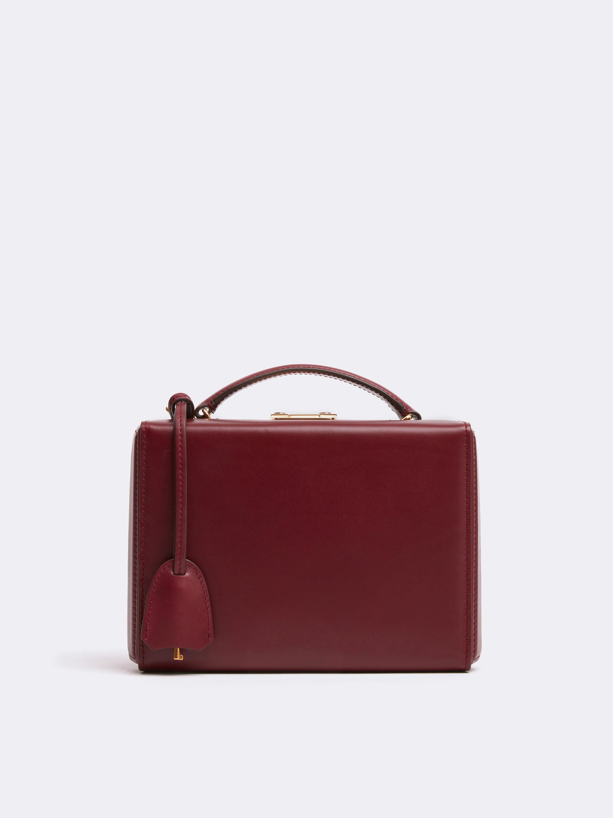 Mark Cross Grace Small Leather Box Bag Smooth Calf Burgundy Front