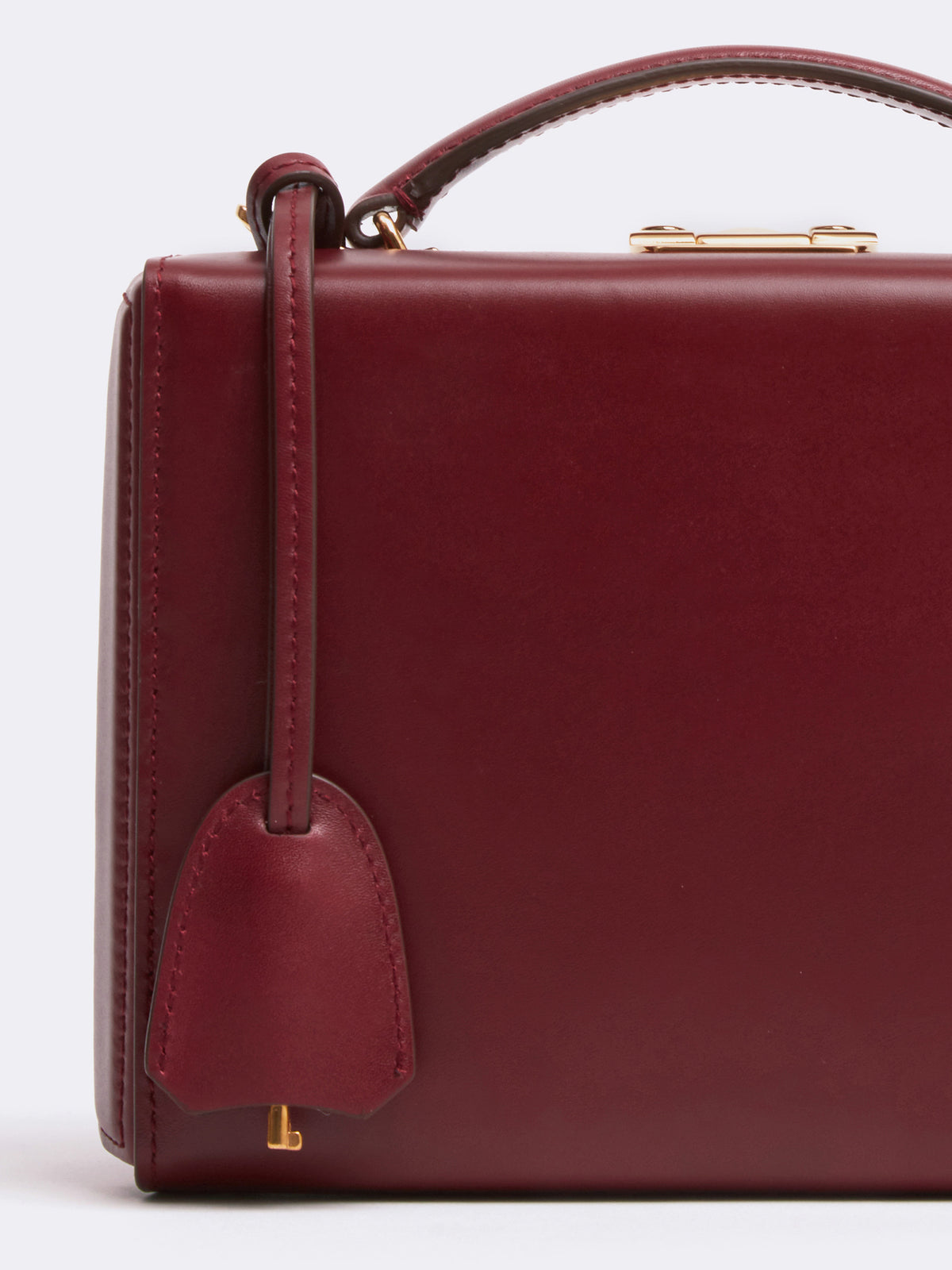 Mark Cross Grace Small Leather Box Bag Smooth Calf Burgundy Detail