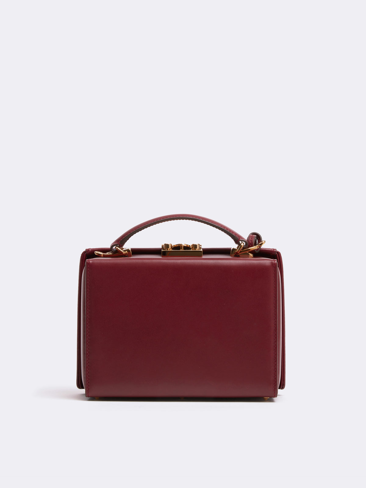 Mark Cross Grace Small Leather Box Bag Smooth Calf Burgundy Back