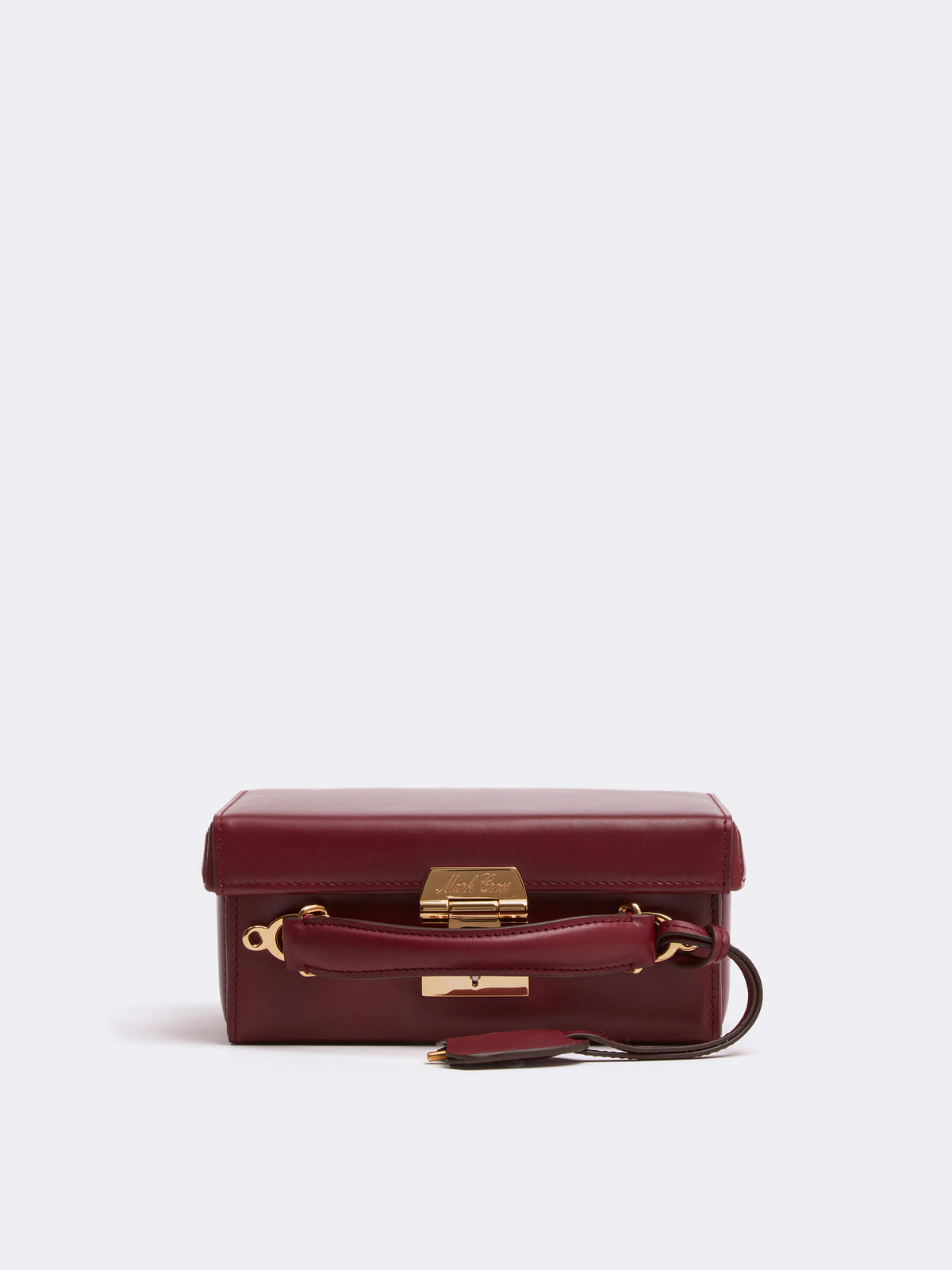 Mark Cross Grace Small Leather Box Bag Smooth Calf Burgundy Side