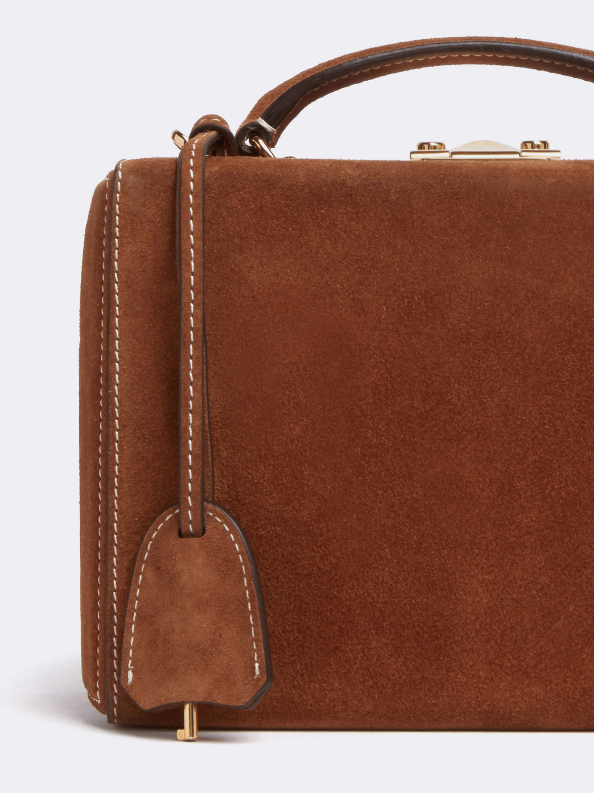 Mark Cross Grace Small Suede Box Bag Suede Acorn Detail