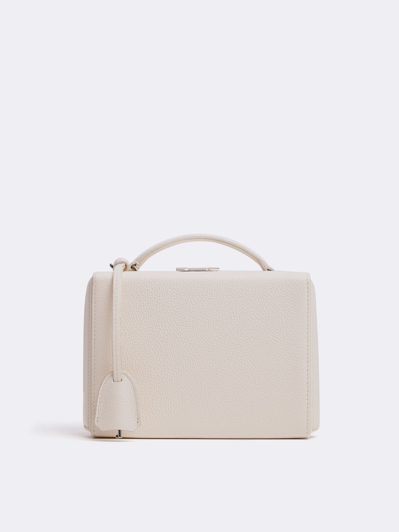Mark Cross Grace Small Leather Box Bag Tumbled Grain Winter White Front