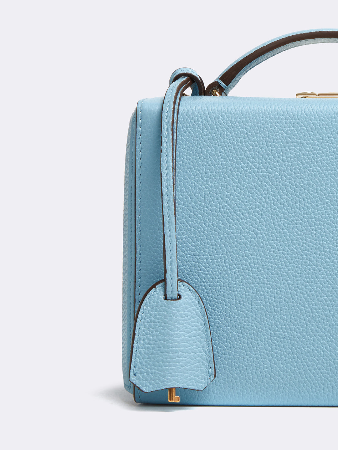 Mark Cross Grace Small Leather Box Bag Tumbled Grain Powder Blue Detail